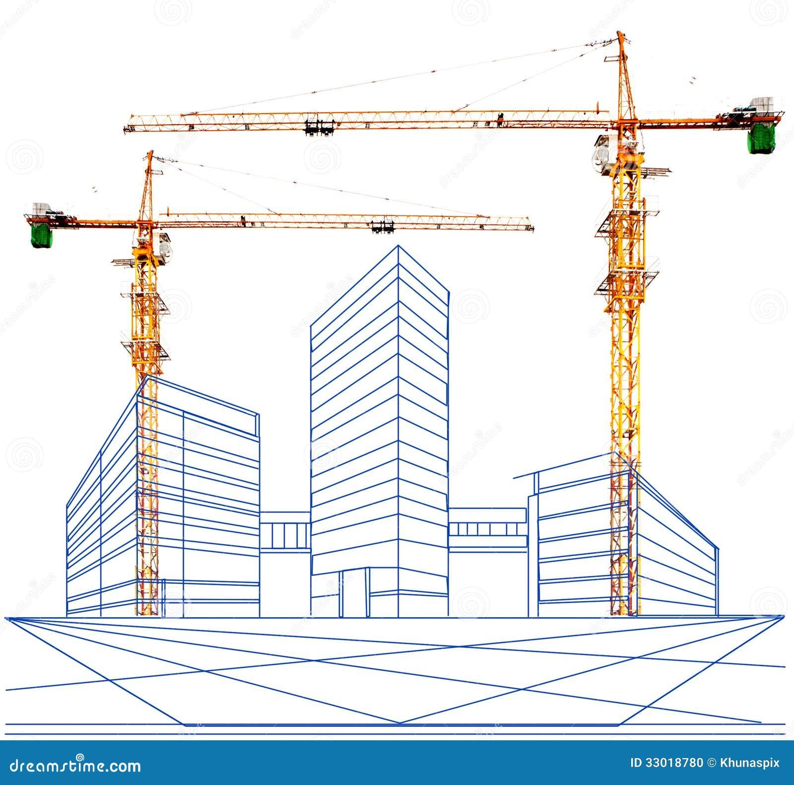 在建筑抬头和大厦两点透视