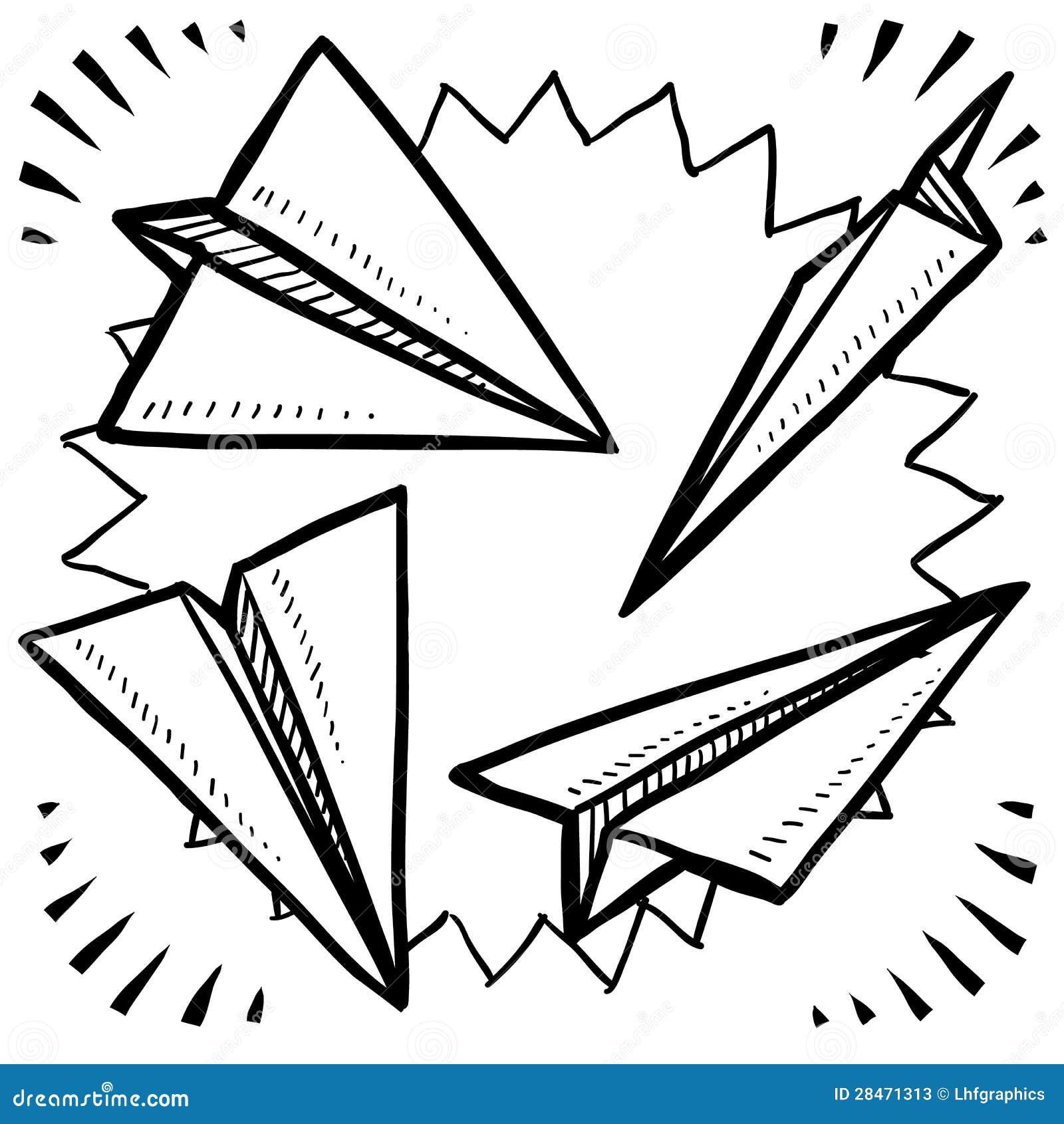 纸飞机草图 库存照片