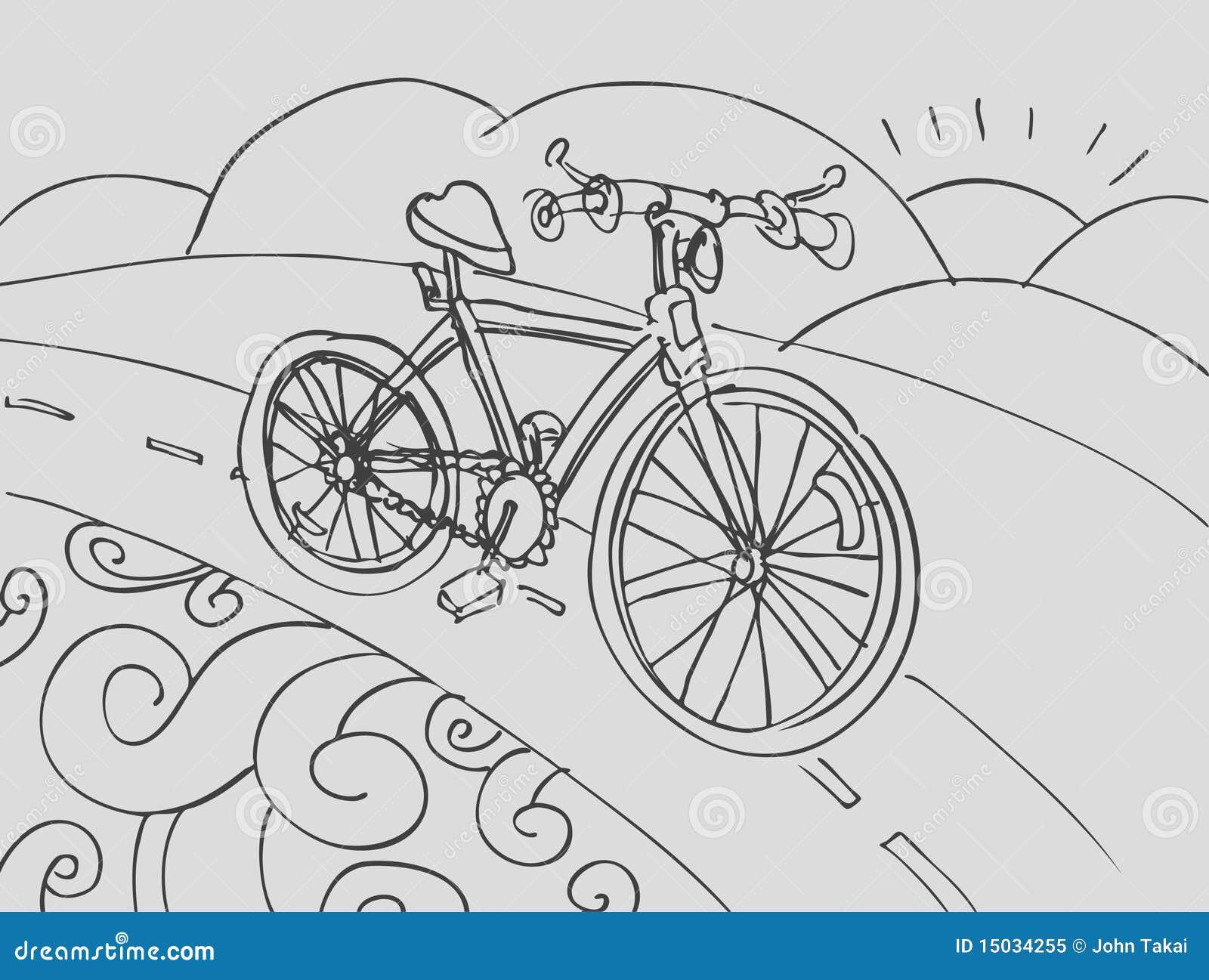 线描简笔画自行车设计素材免费下