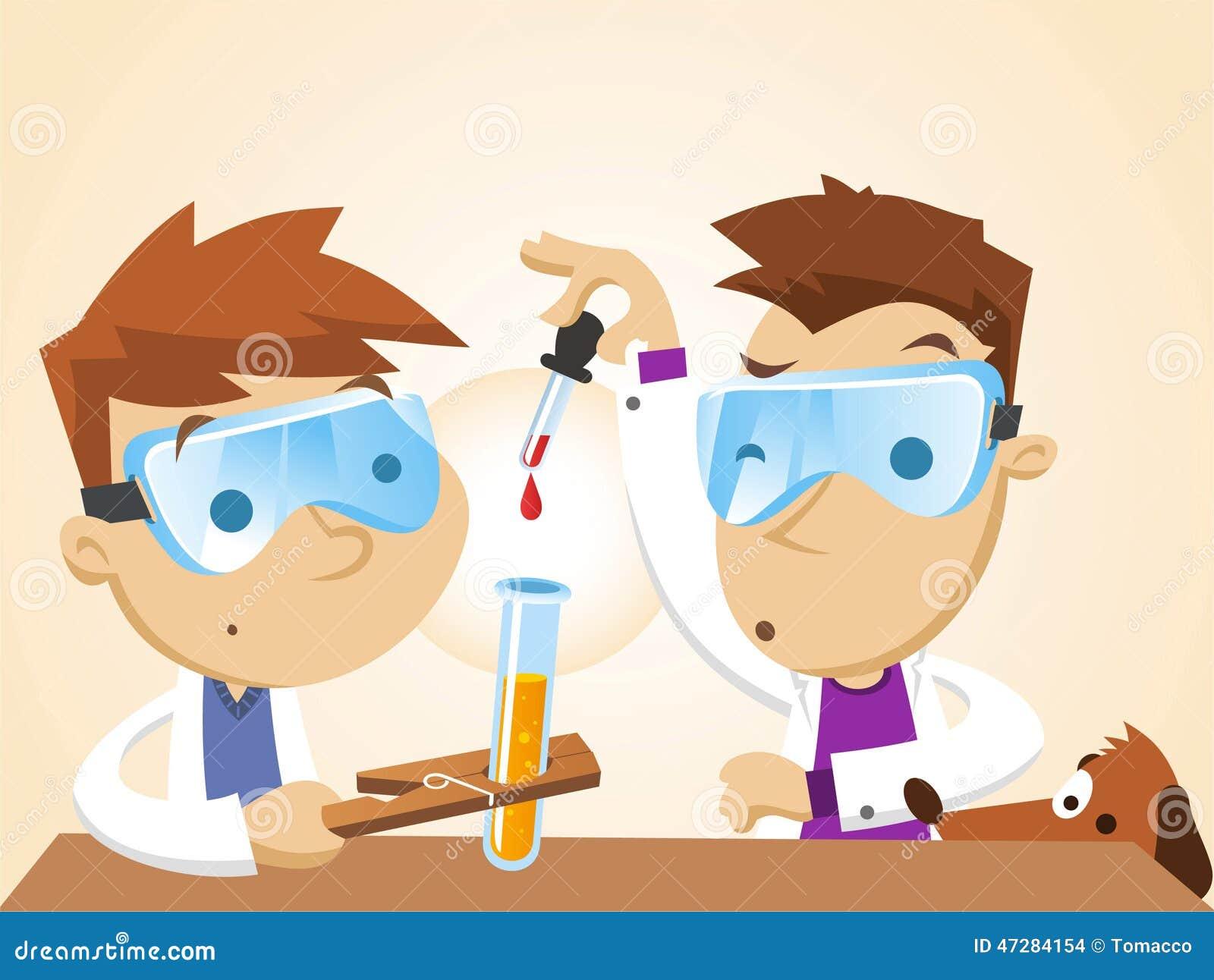 做科学实验的小男孩 库存例证