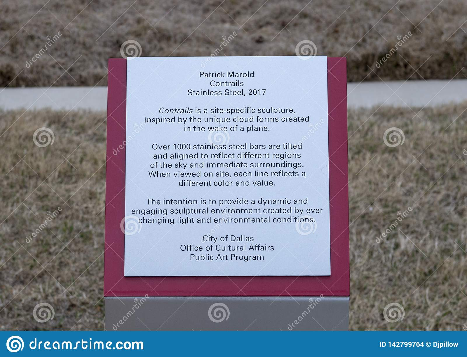 '转换轨迹的'信息匾,一个不锈钢雕塑帕特里克Marold,爱领域,达拉斯,得克萨斯