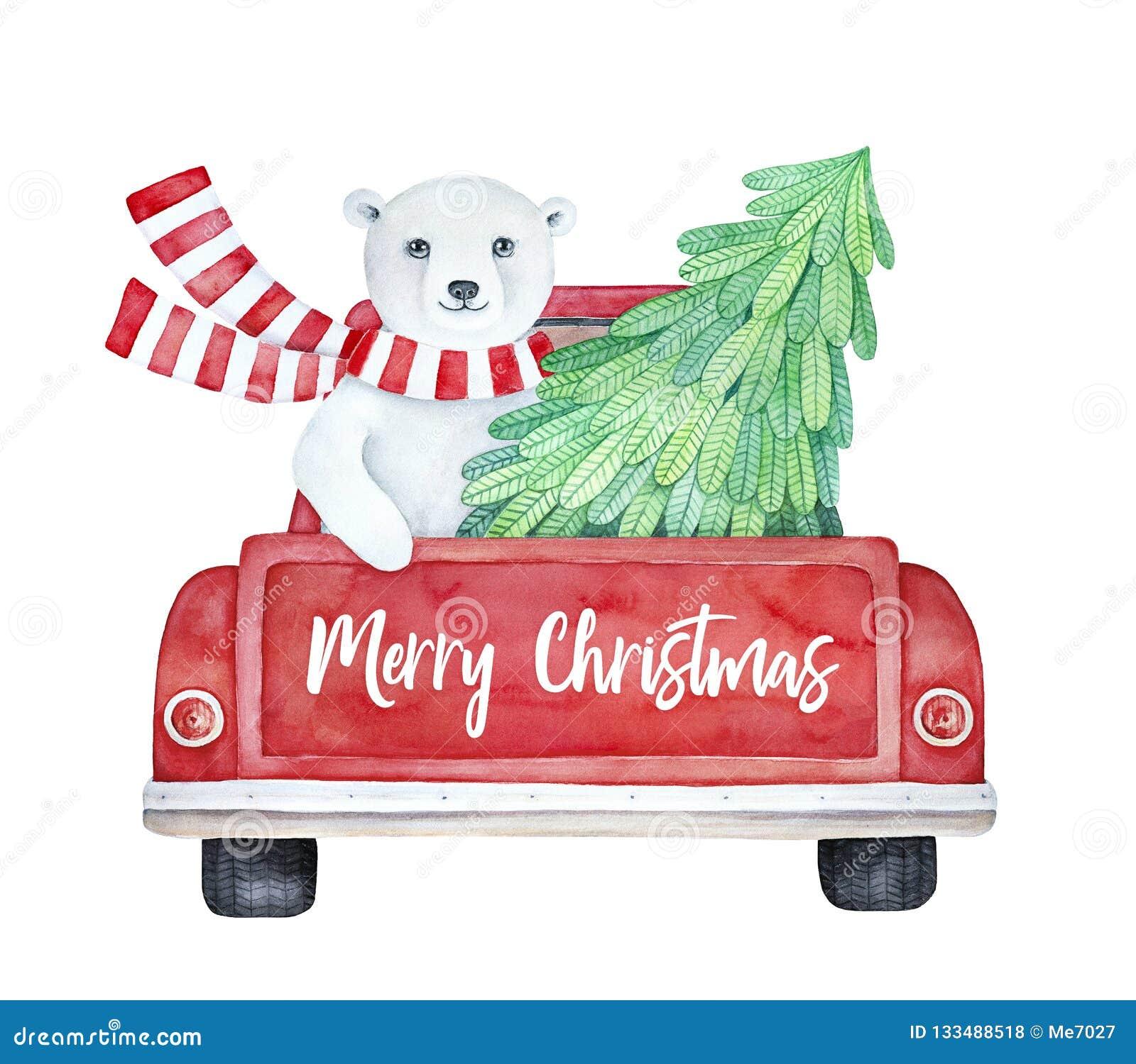 'A ilustração do Feliz Natal com o caminhão vermelho do vintage e o urso polar bonito