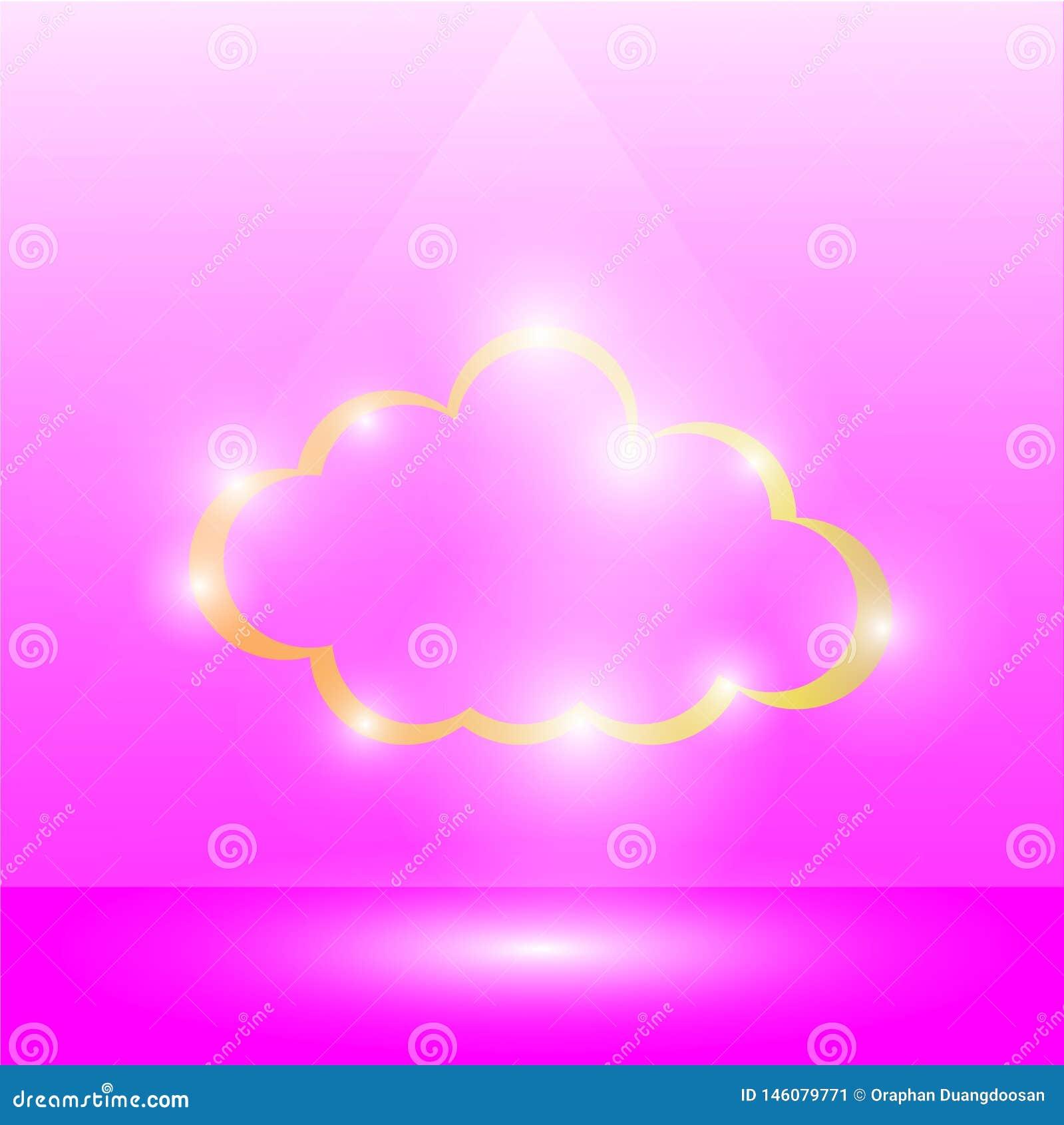 'forma de la nube de oro y de brillar intensamente ligero alrededor en un fondo rosado, luz que brilla en la nube, brillo ligero