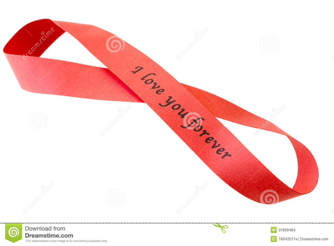 """'I love you forever"""" sigh on red tape"""
