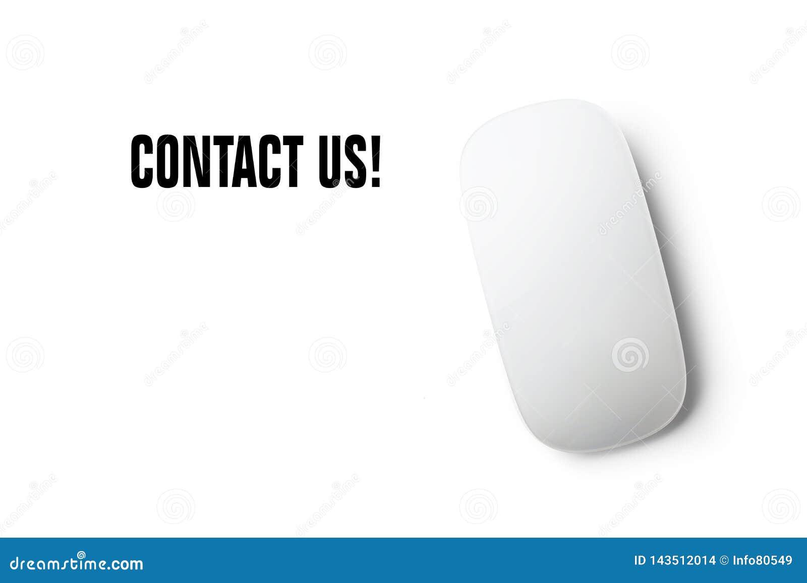 """""""Μας ελάτε σε επαφή με κείμενο με το ποντίκι και ένα άσπρο υπόβαθρο"""