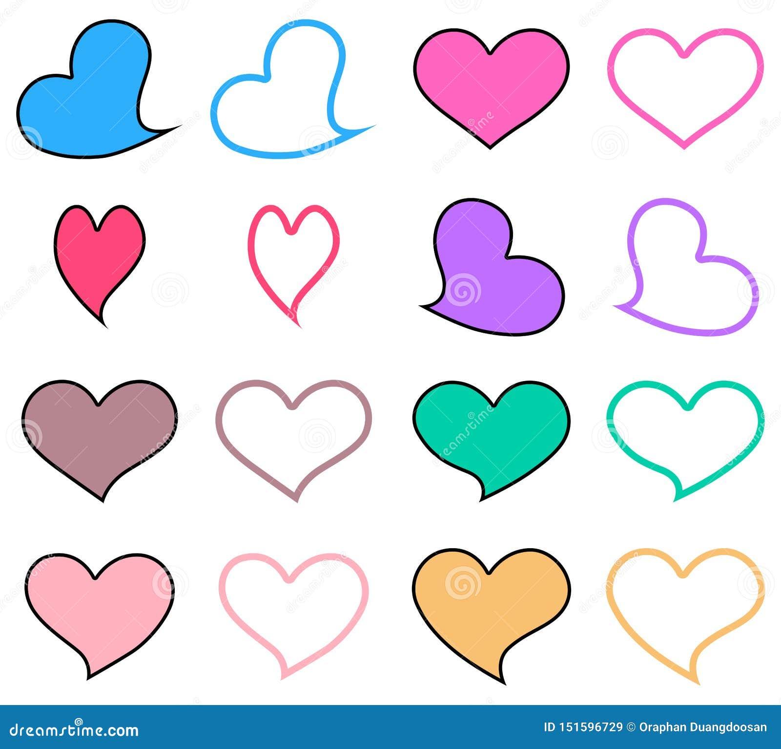 """""""Σύνολο εικονιδίων καρδιών κρητιδογραφιών Γραφικό σχέδιο στην έννοια της αγάπης χαριτωμένο έμβλημα αγάπης Διανυσματικό σύμβολο αγ"""
