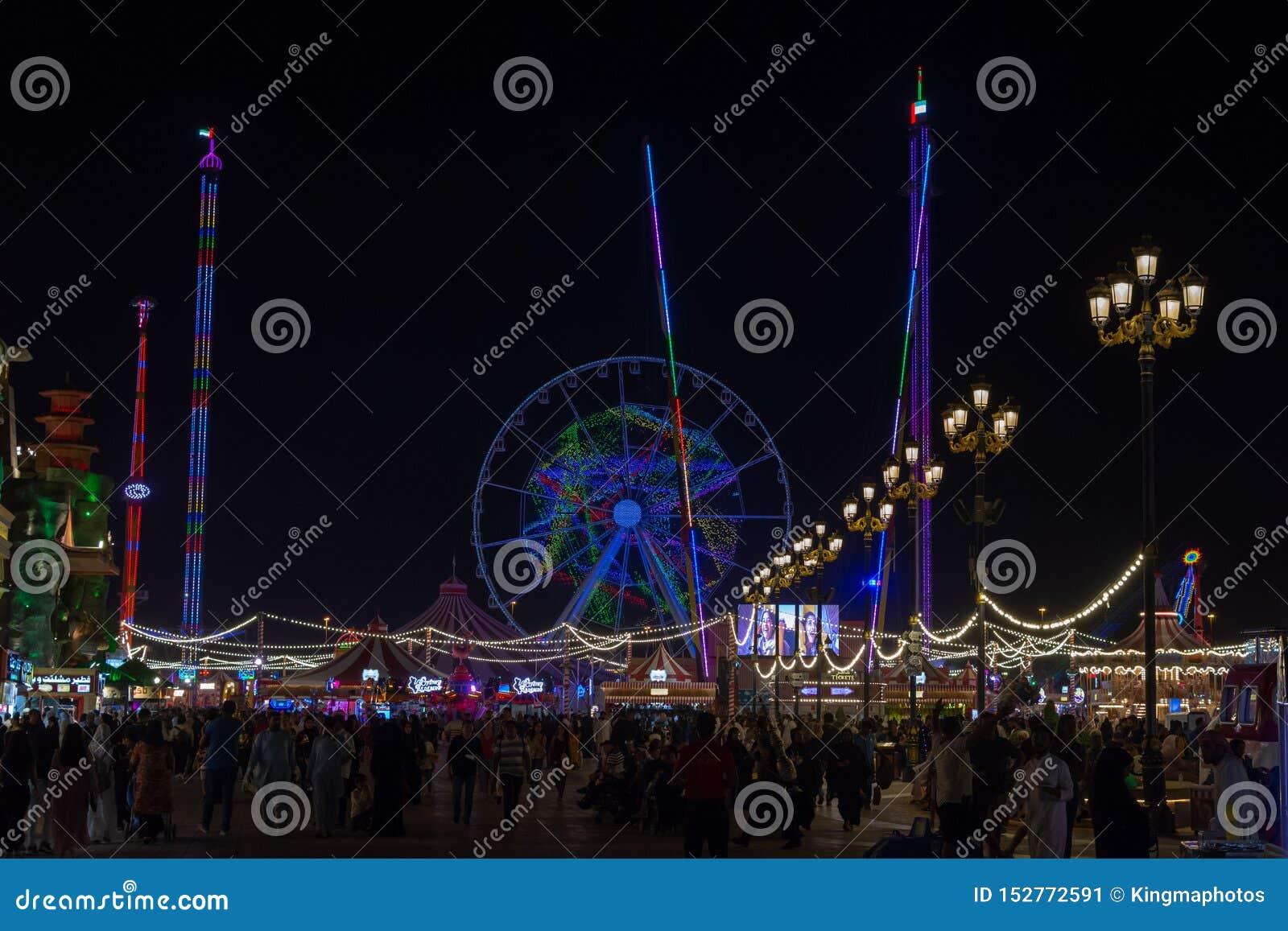 """""""Dubaï, Dubaï/Emirats Arabes Unis - 4/9/2019 : Attraction touristique de village global à Dubaï représentant les magasins globaux"""