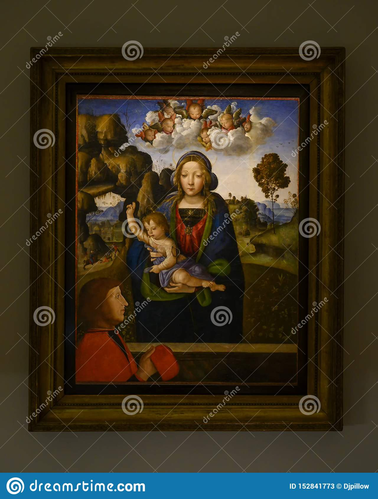 """""""Madonna ed il bambino con un adoratore """"nel Pinacota Ambrosiana, la galleria di arte ambrosiana a Milano, Italia"""