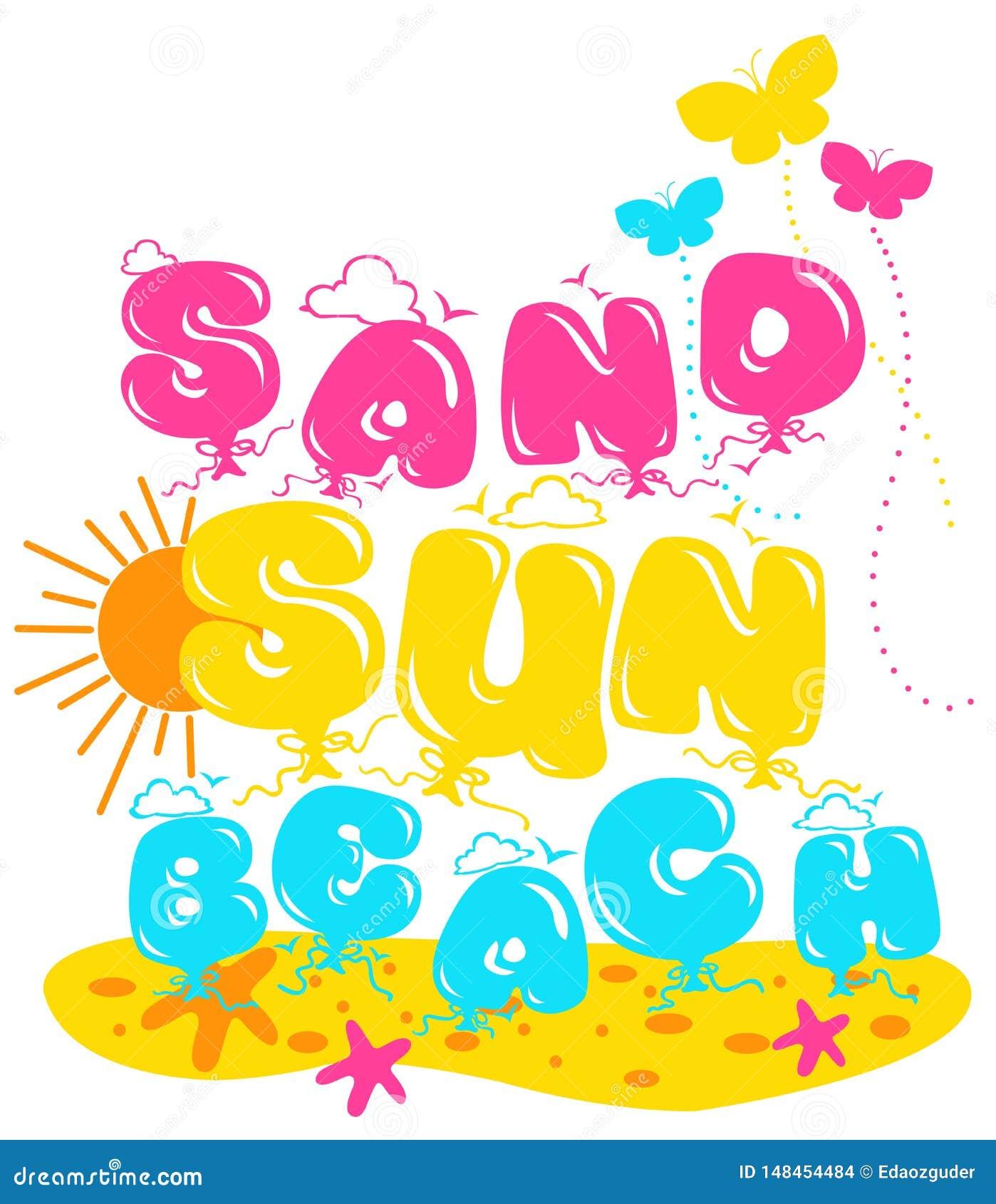 """""""sable, le soleil, modèle écrit de plage """", graphiques pour des enfants"""