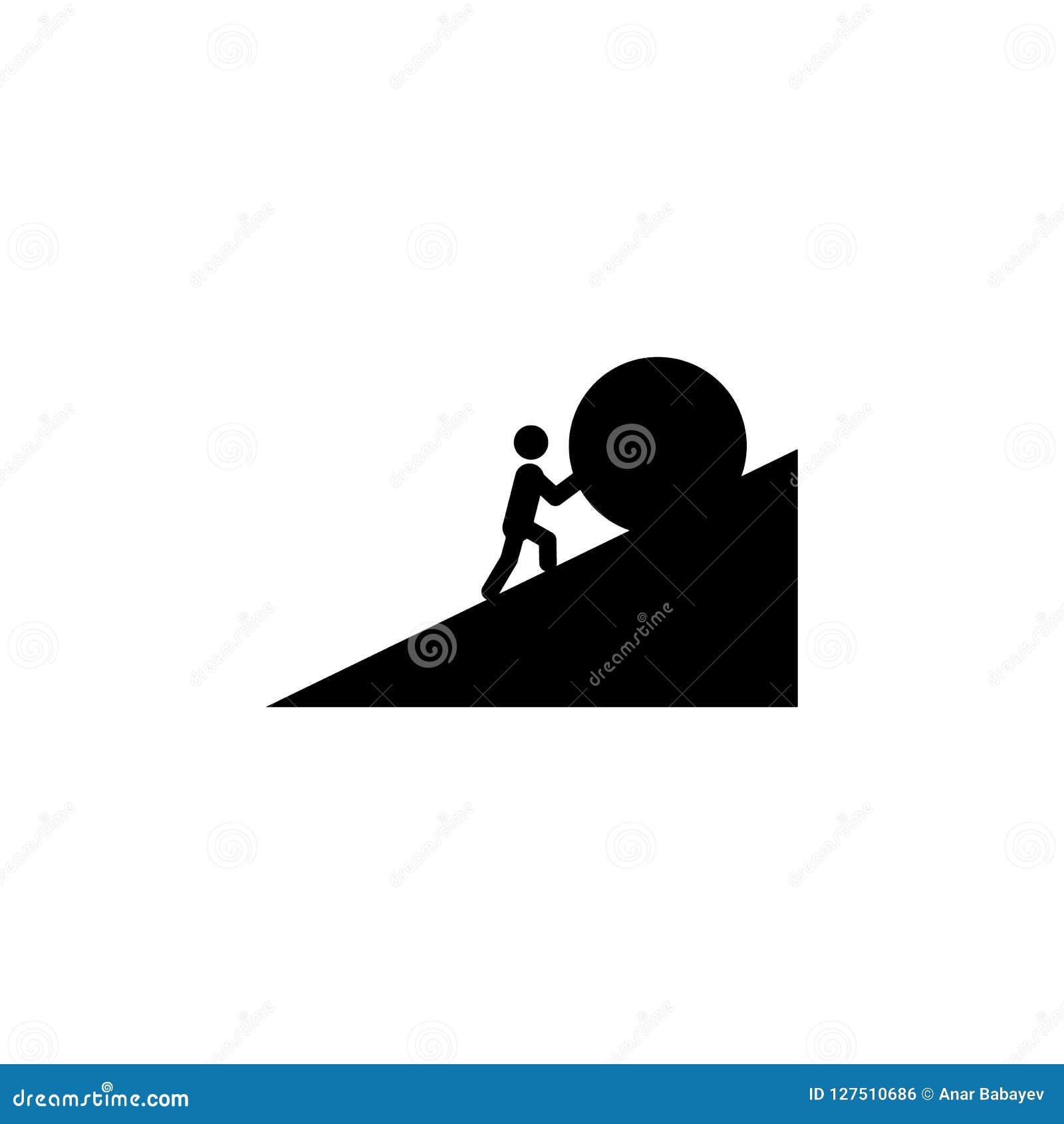 一个人推挤一个石象 被克服的挑战例证的元素 优质质量图形设计象 标志和标志coll
