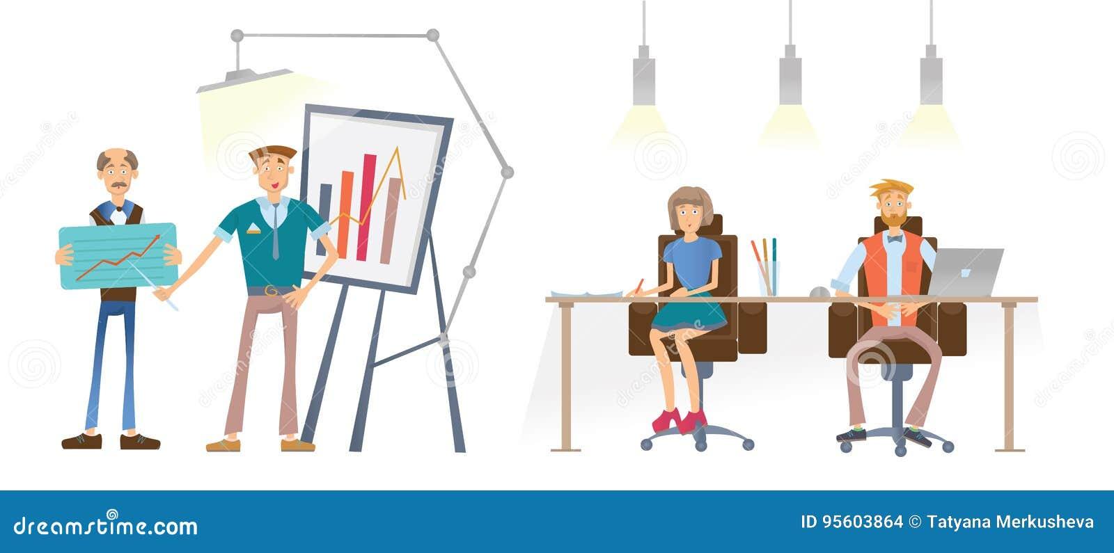 一个人显示一张财政图表 一个男人和一名妇女在桌上看并且听报告人 3d企业尺寸介绍回报形状三