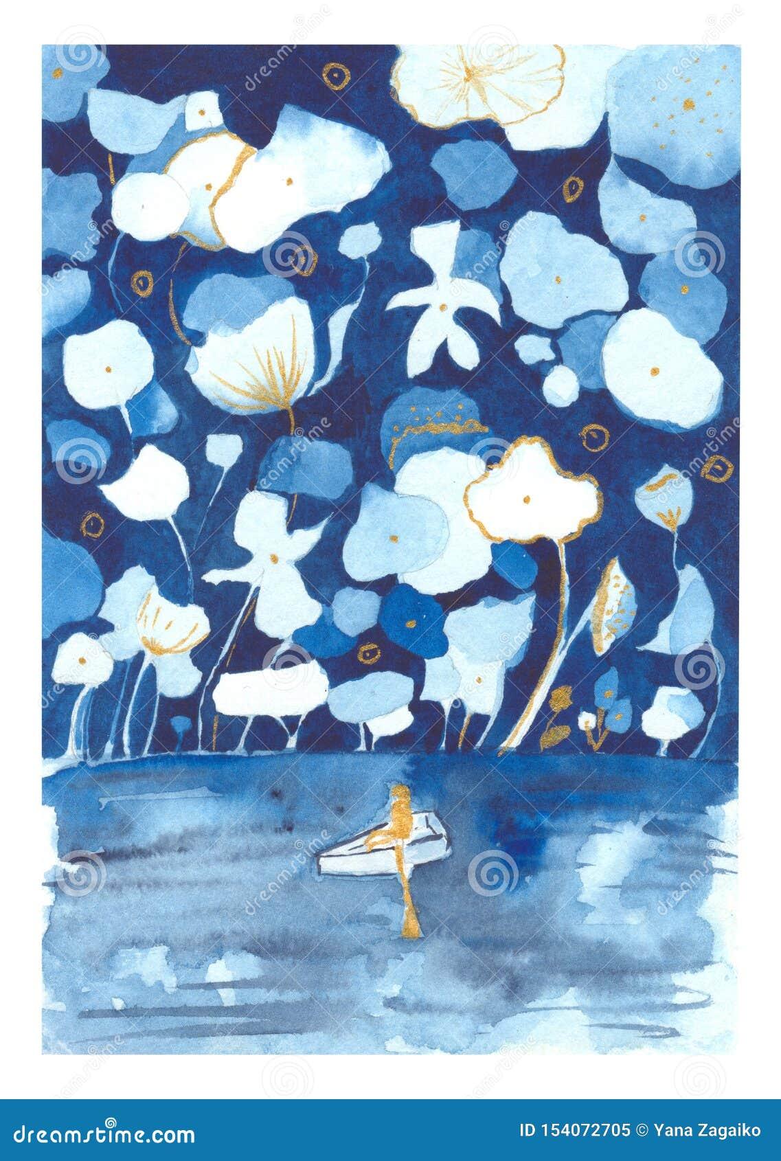 一个人的水彩例证一条小船的在有巨大的花的一个神仙的森林里