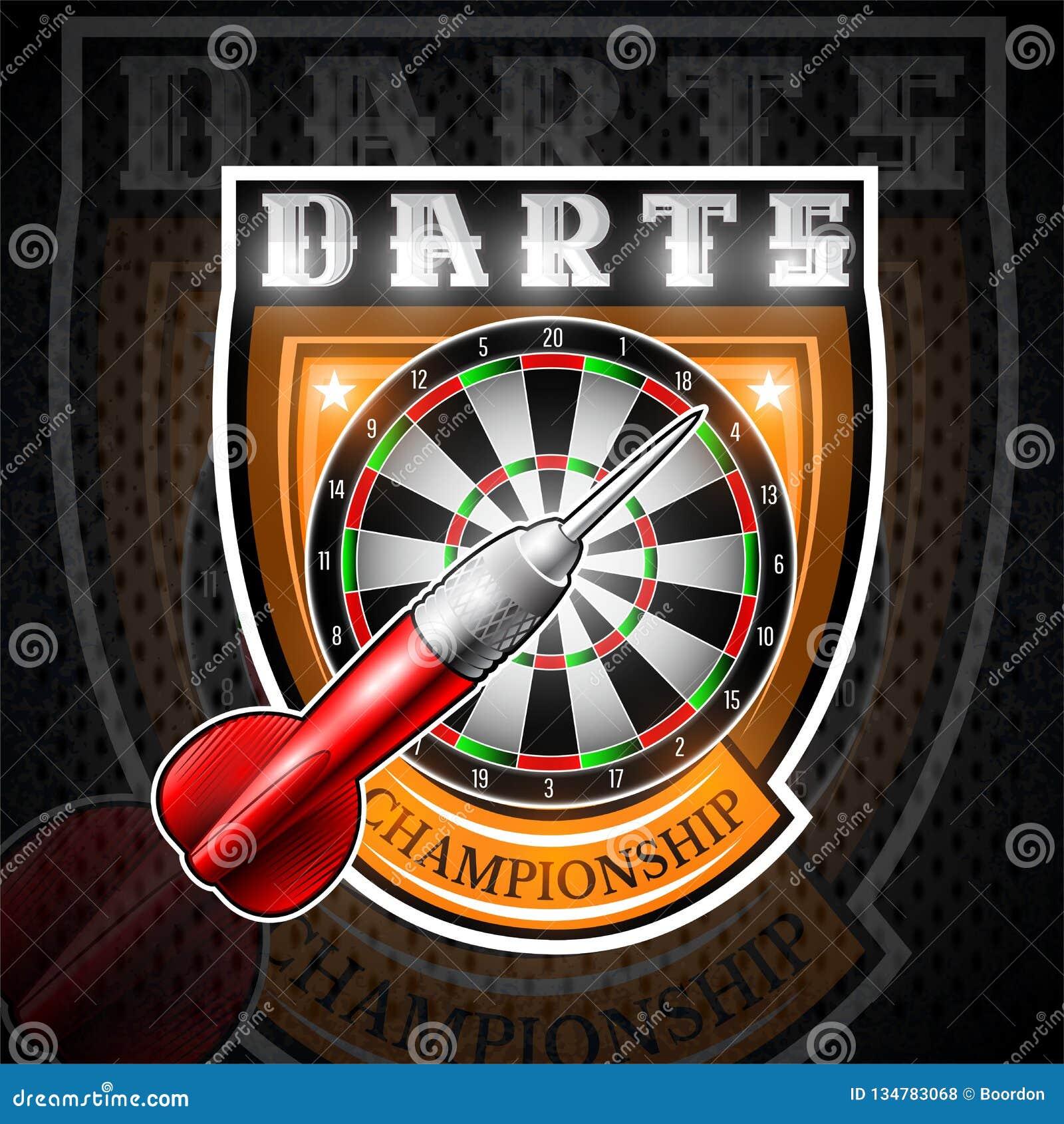 一个人红色在盾的中心投掷与圆的目标 任何箭比赛或冠军的体育商标