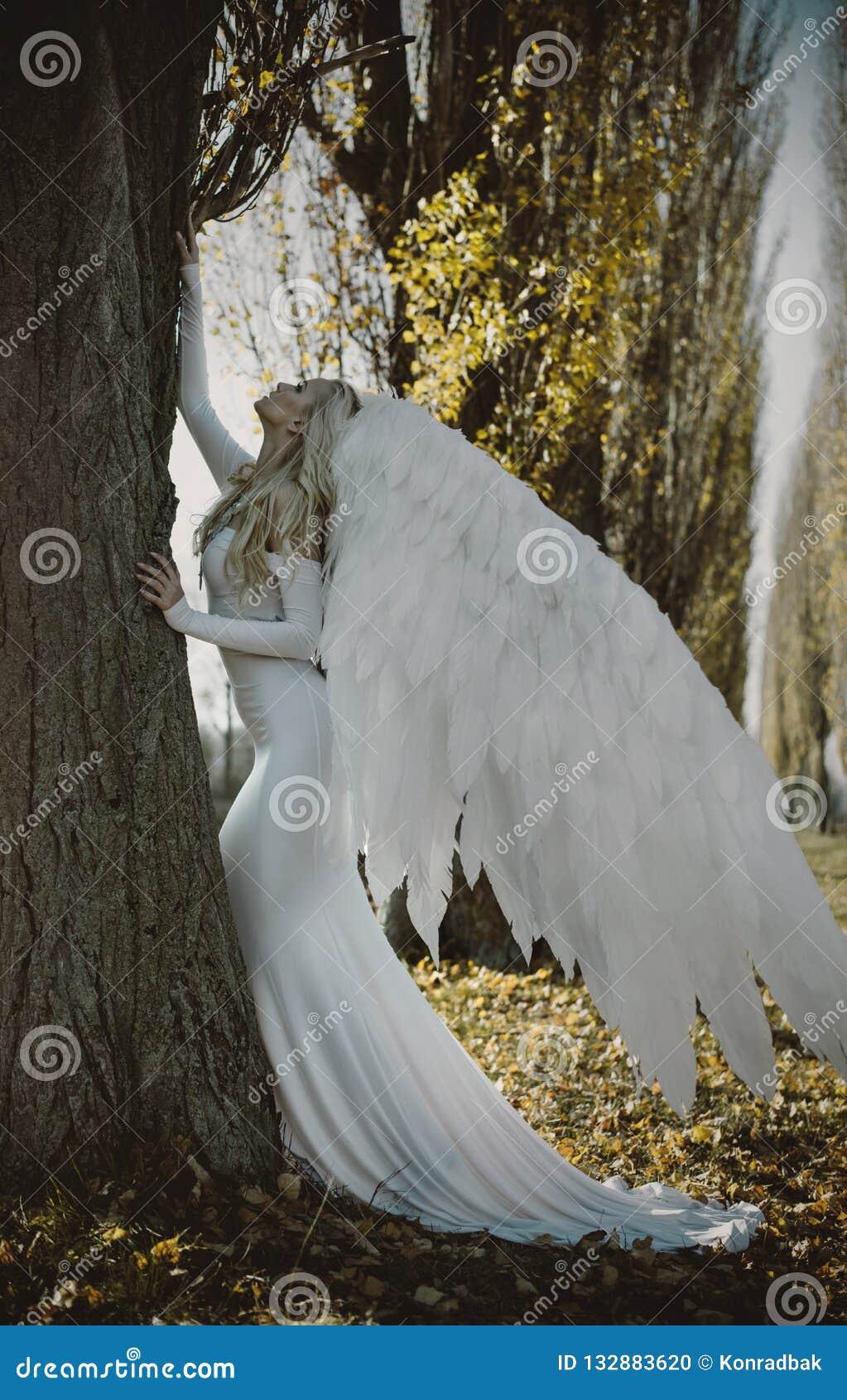 一个典雅,白肤金发的天使的画象