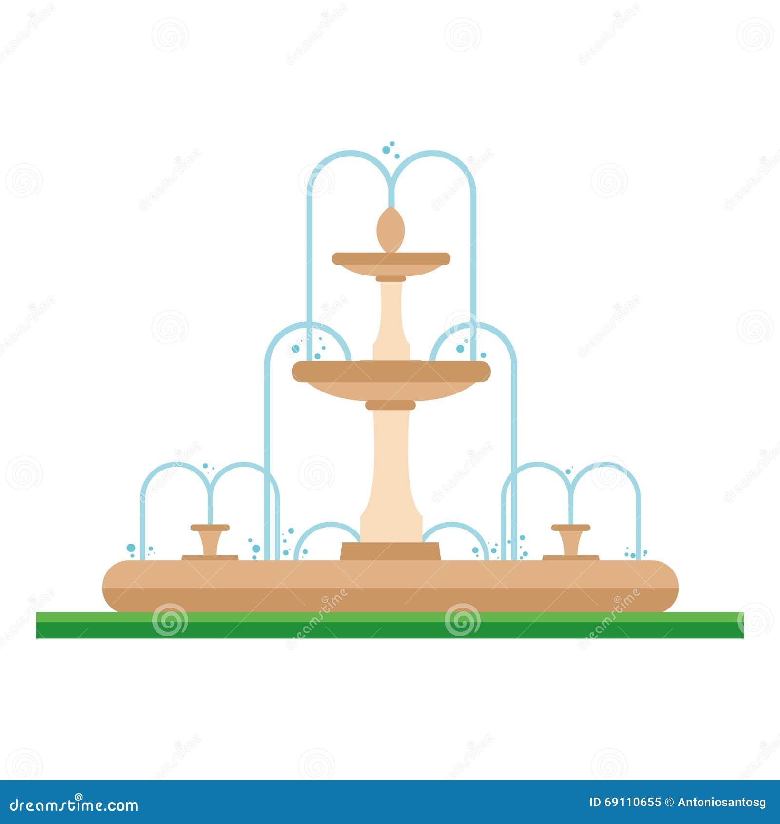 一个喷泉的逗人喜爱的动画片传染媒介例证在公园