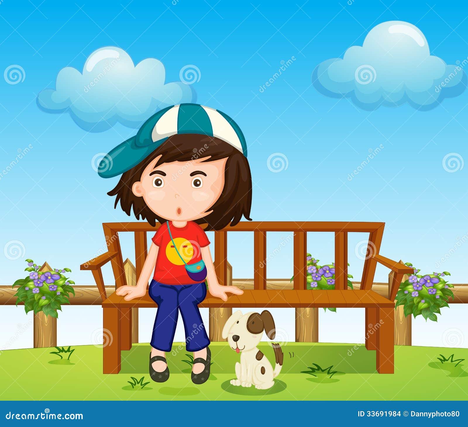 一个女孩和她的宠物的例证在公园.图片