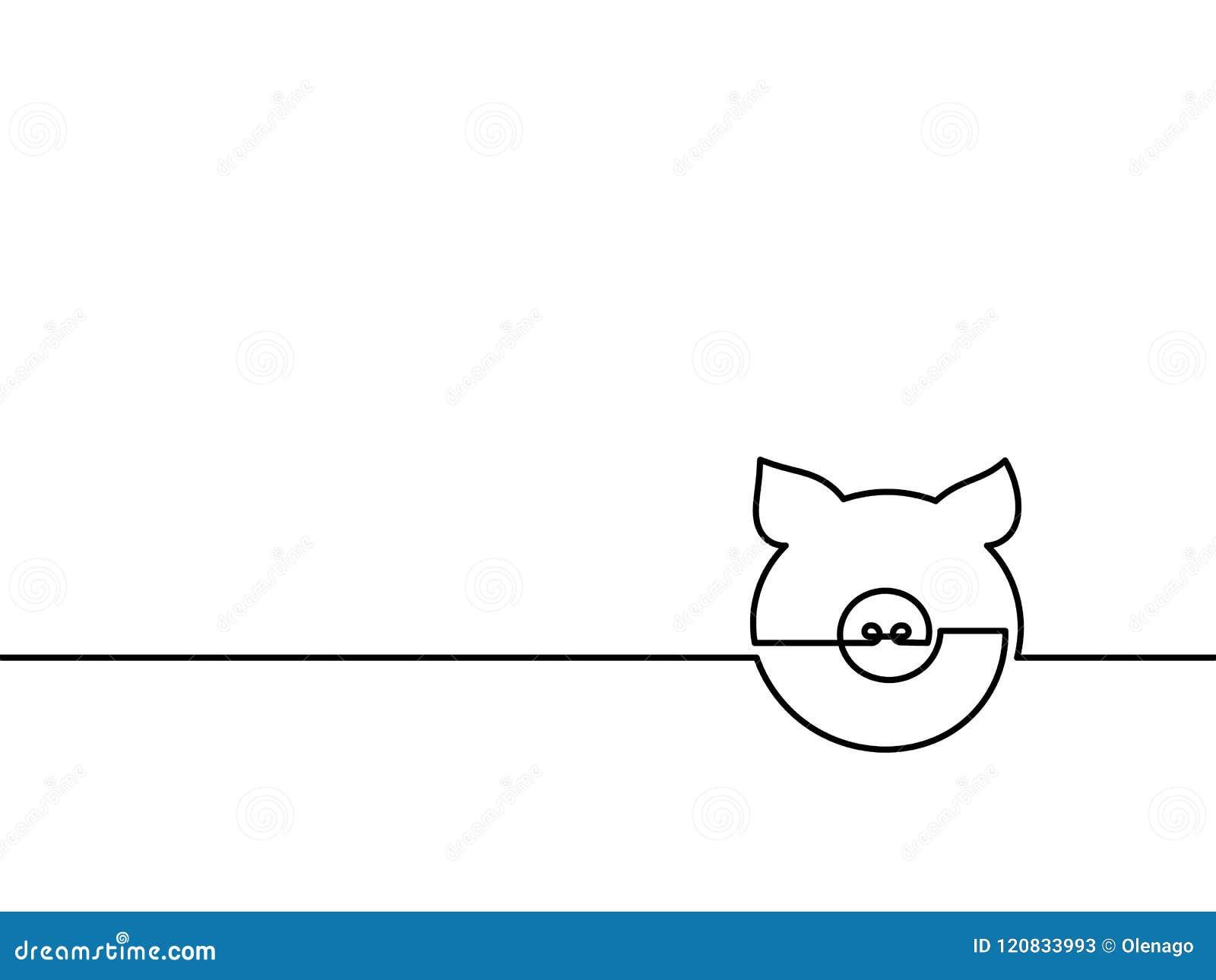 一个实线图画猪