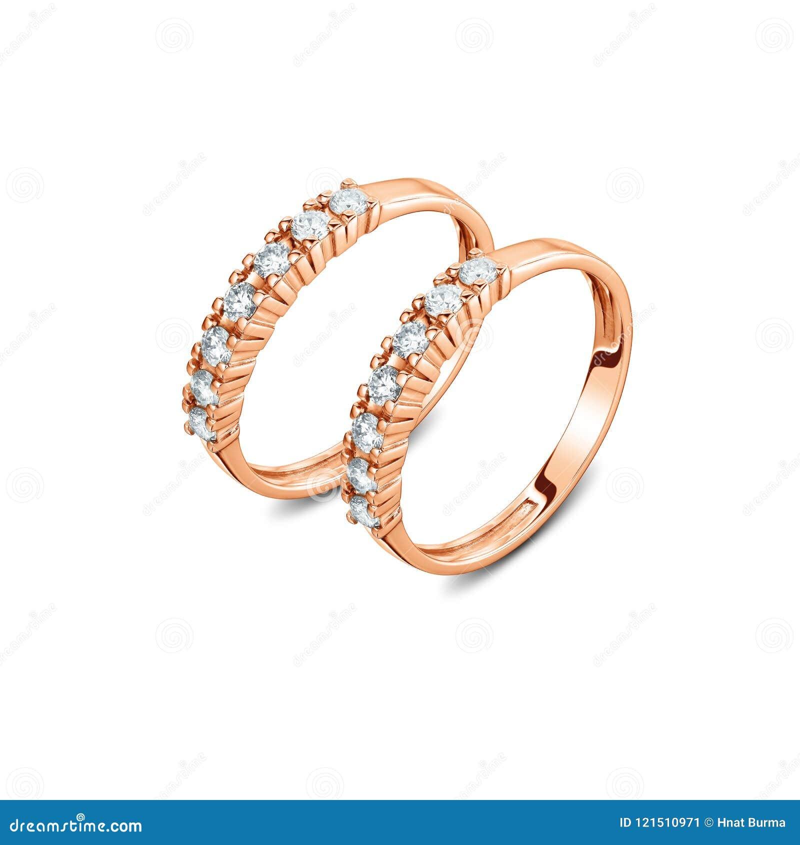 一个对与被隔绝的金刚石的豪华玫瑰色金戒指