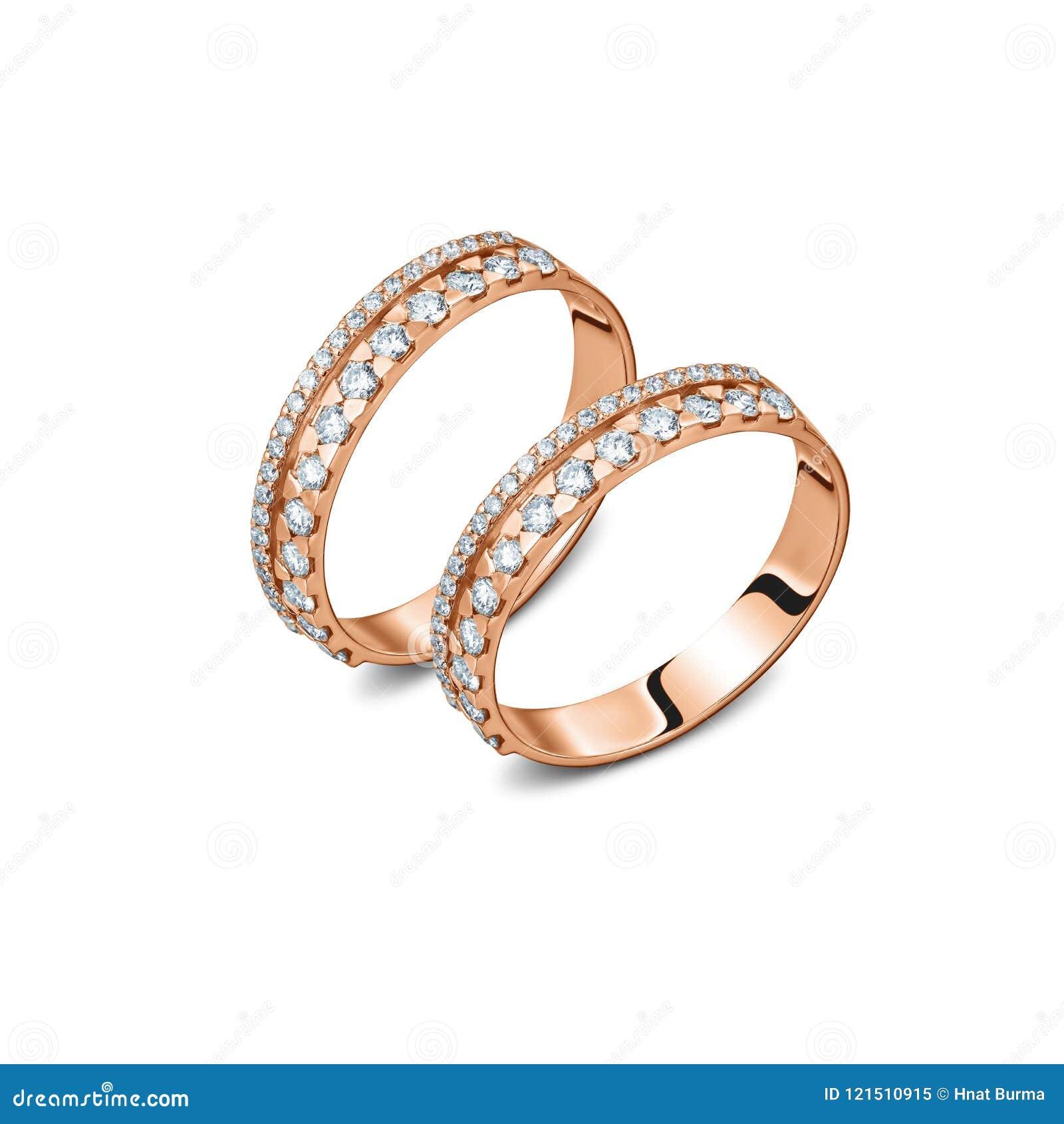 一个对与金刚石的豪华玫瑰色金戒指