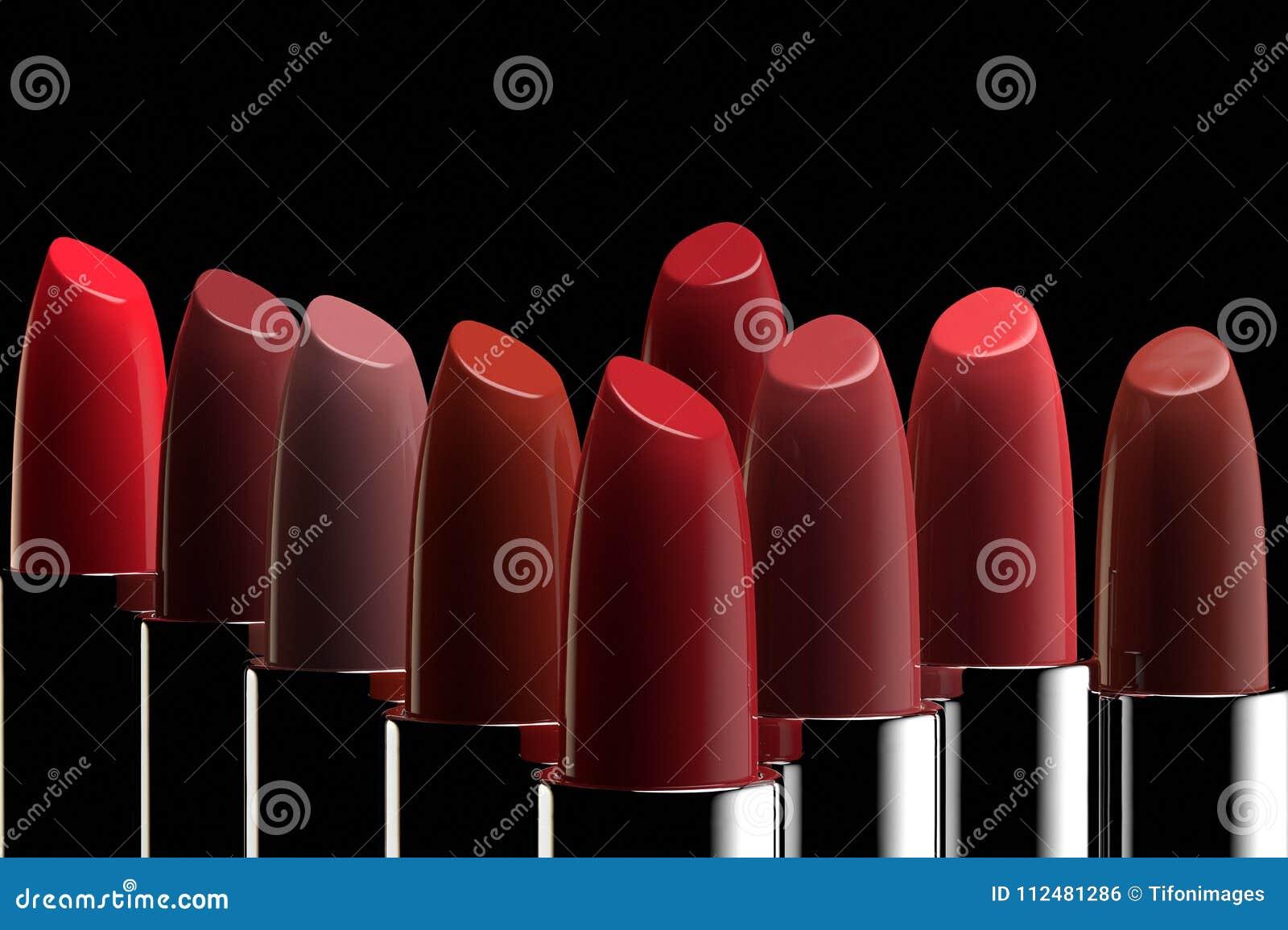 一个小组不同的颜色唇膏
