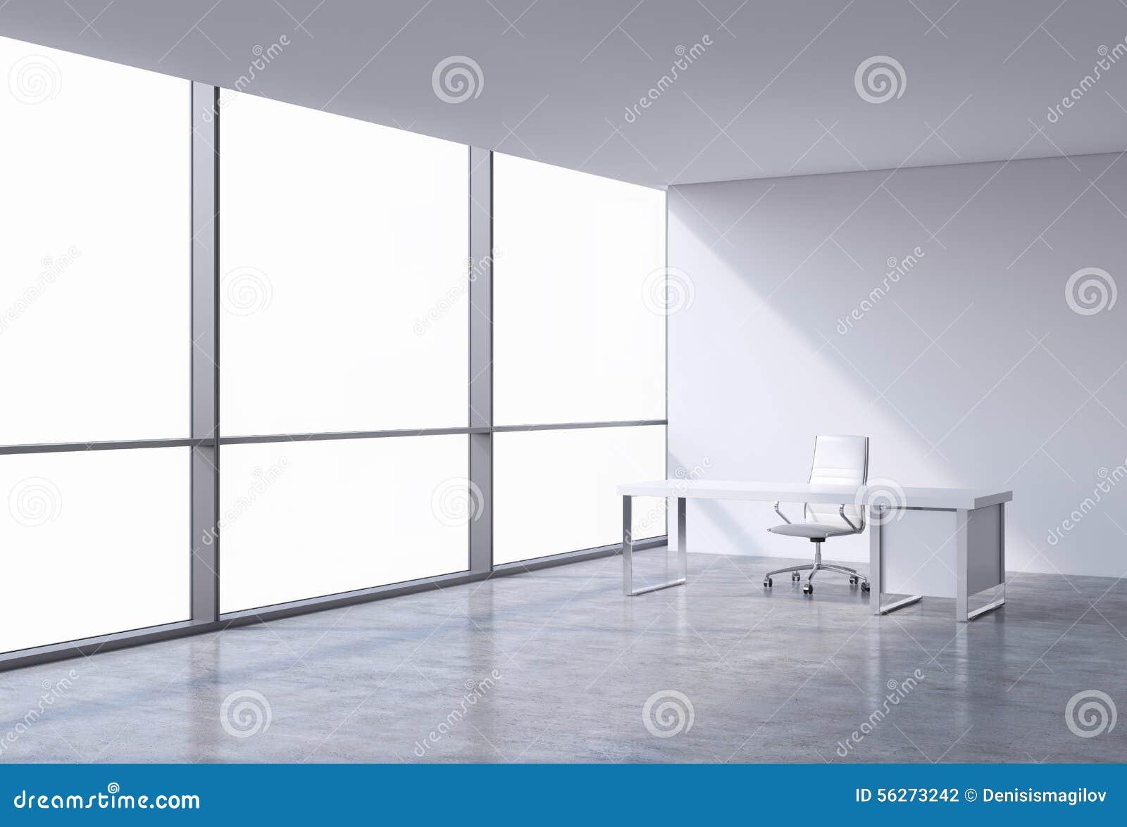 一个工作场所在一个现代壁角全景办公室,在窗口的拷贝空间 一把白革椅子和一张白色桌