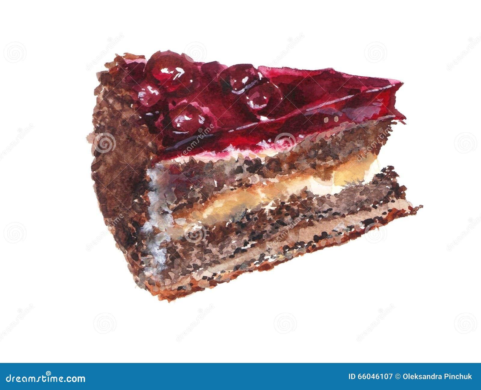 一个巧克力蛋糕的水彩例证用樱桃