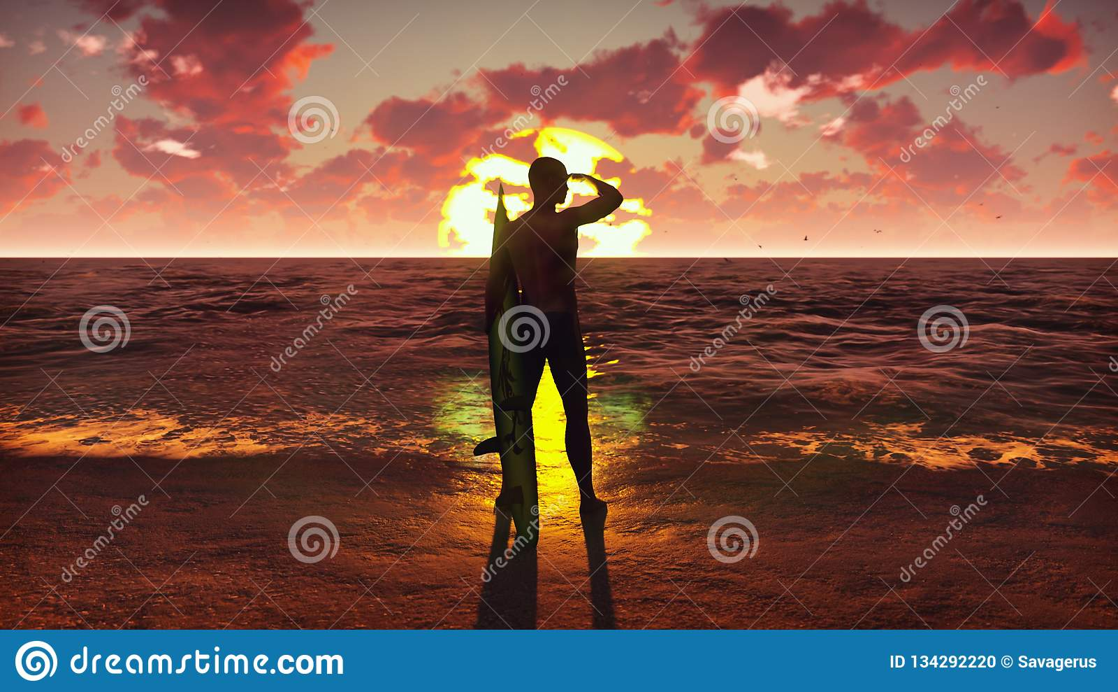 一个年轻男性冲浪者身分的剪影在海滩的在与冲浪板和观看海浪的日出