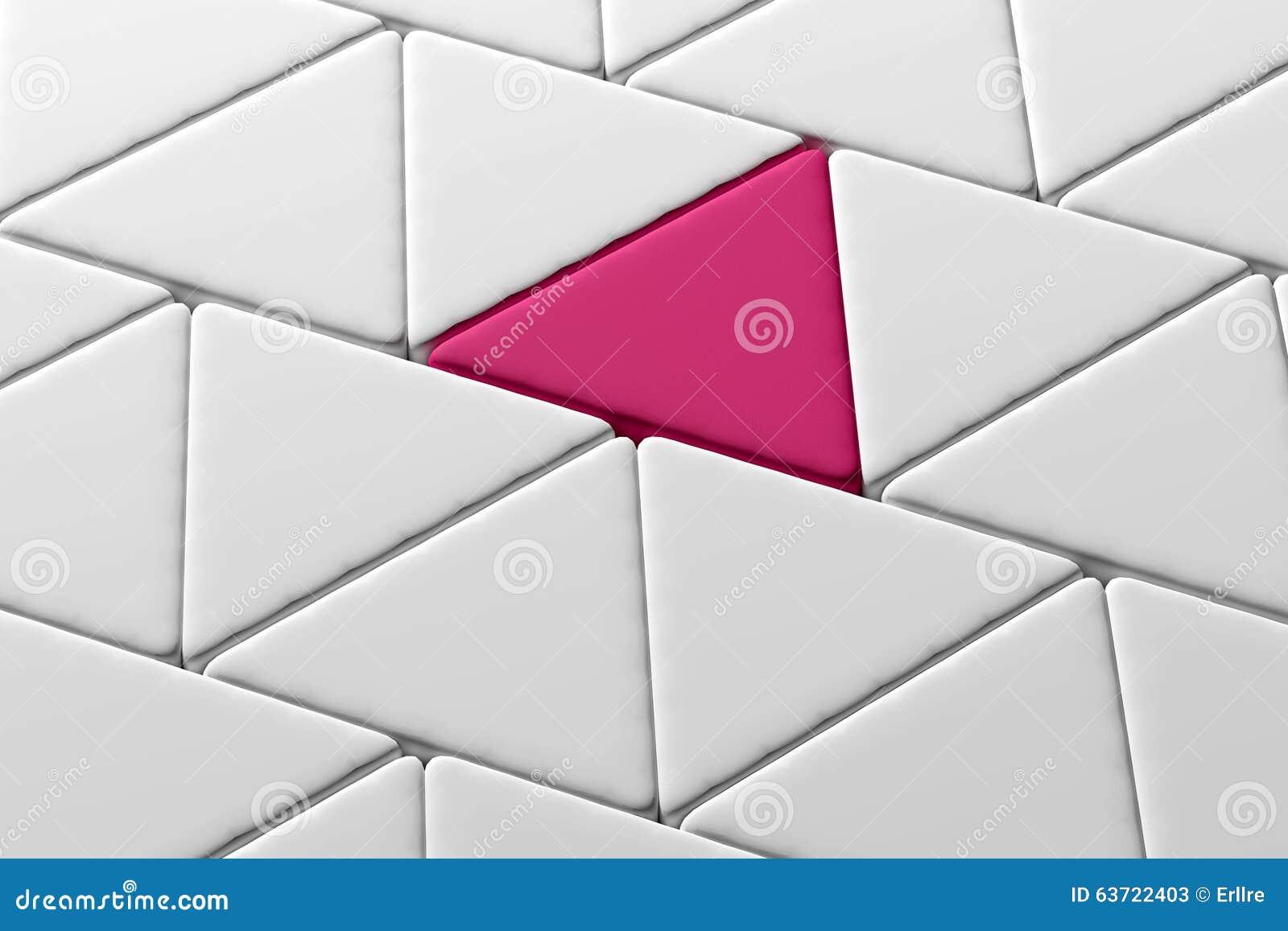 一个桃红色三角特写镜头在白色三角中的