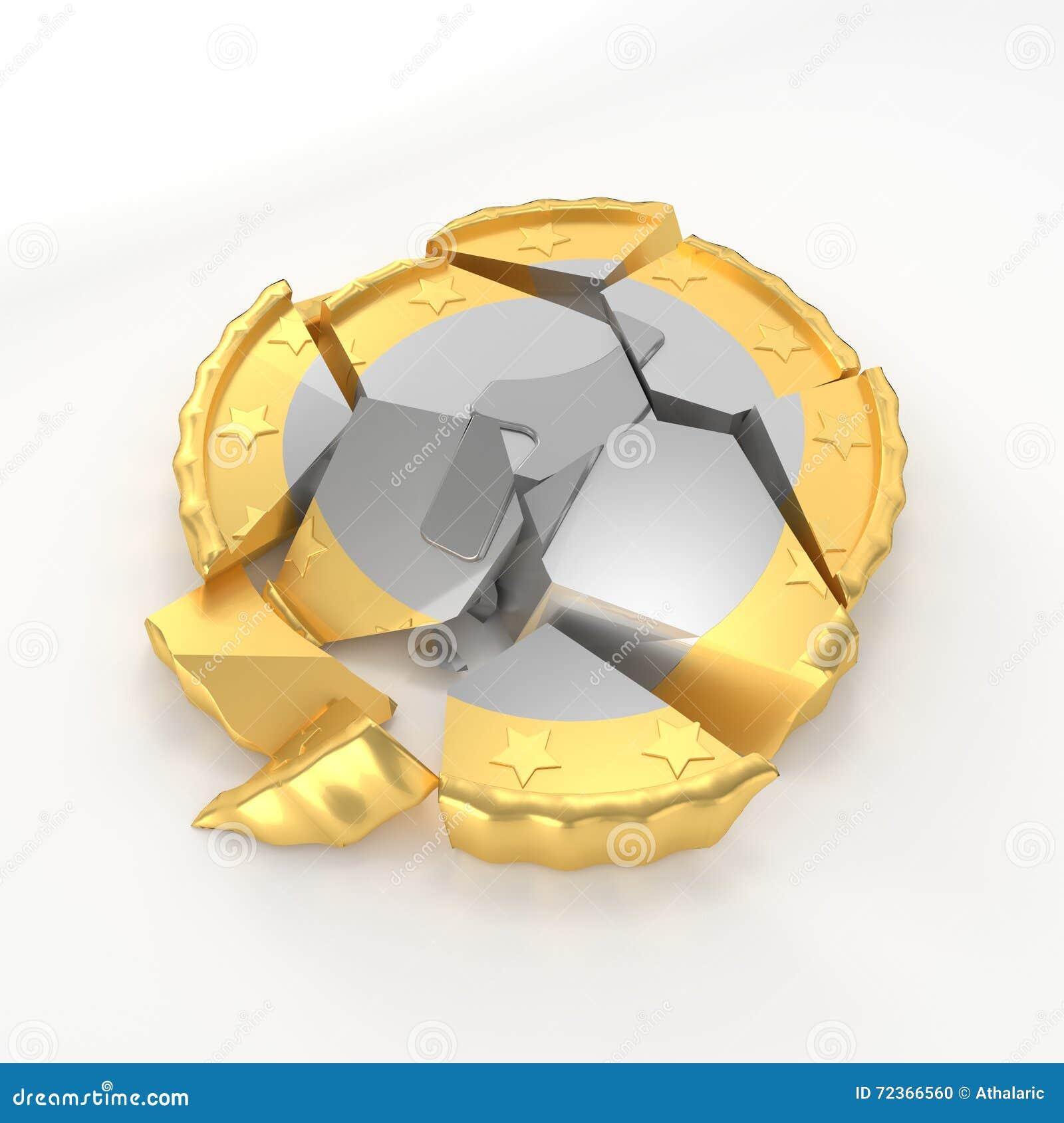 一个残破的硬币损伤概念