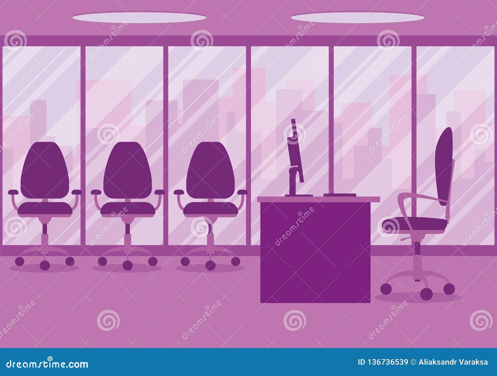 一个现代办公室设计师工作场所的设计桃红色的