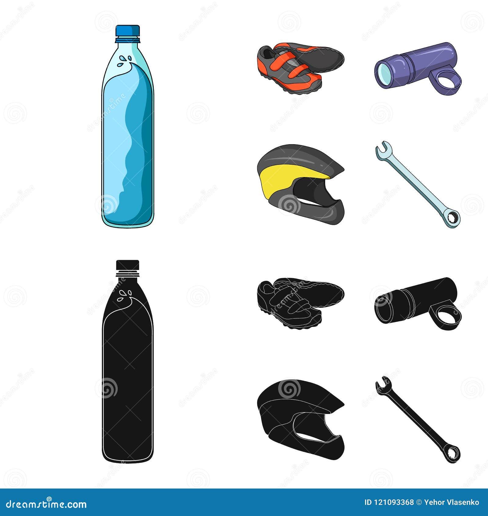 一个瓶水,运动鞋,自行车的,一件防护盔甲一个手电 骑自行车者成套装备集合汇集象