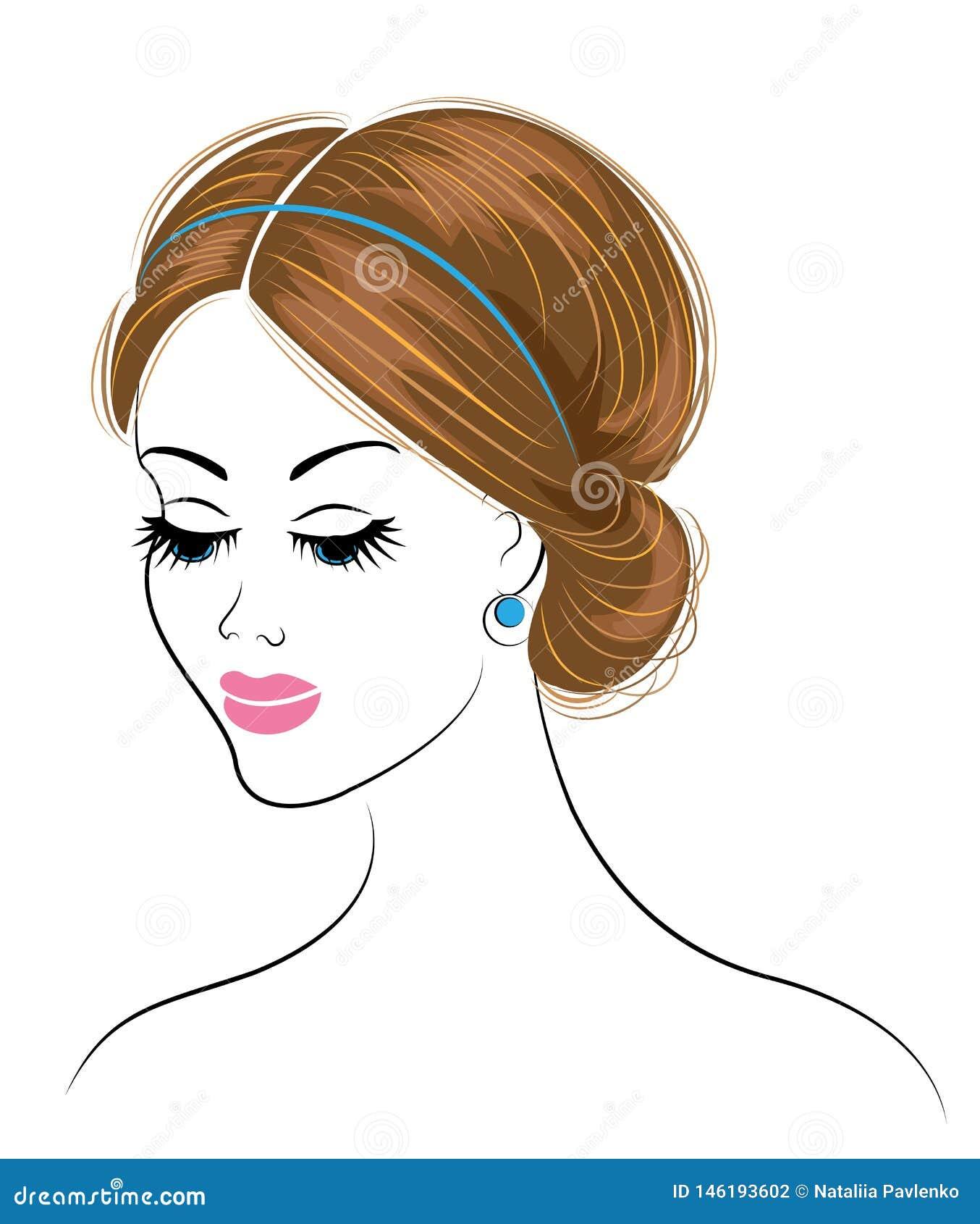 一个甜夫人的头的剪影 女孩显示长和中等头发的希腊发型 r