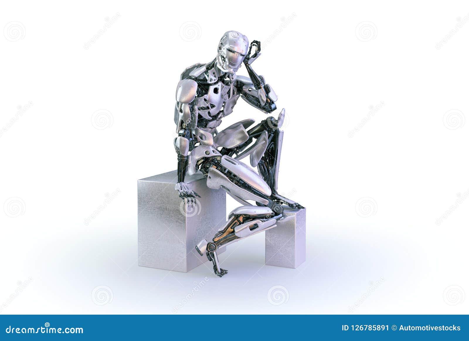 一个男性有人的特点的机器人、机器人或者靠机械装置维持生命的人,下来和认为或计算坐白色演播室背景 3d例证