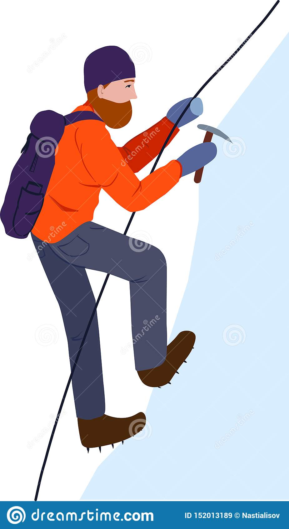 一个登山人 攀登与安全绳索和冰斧的雪岩石的一个人