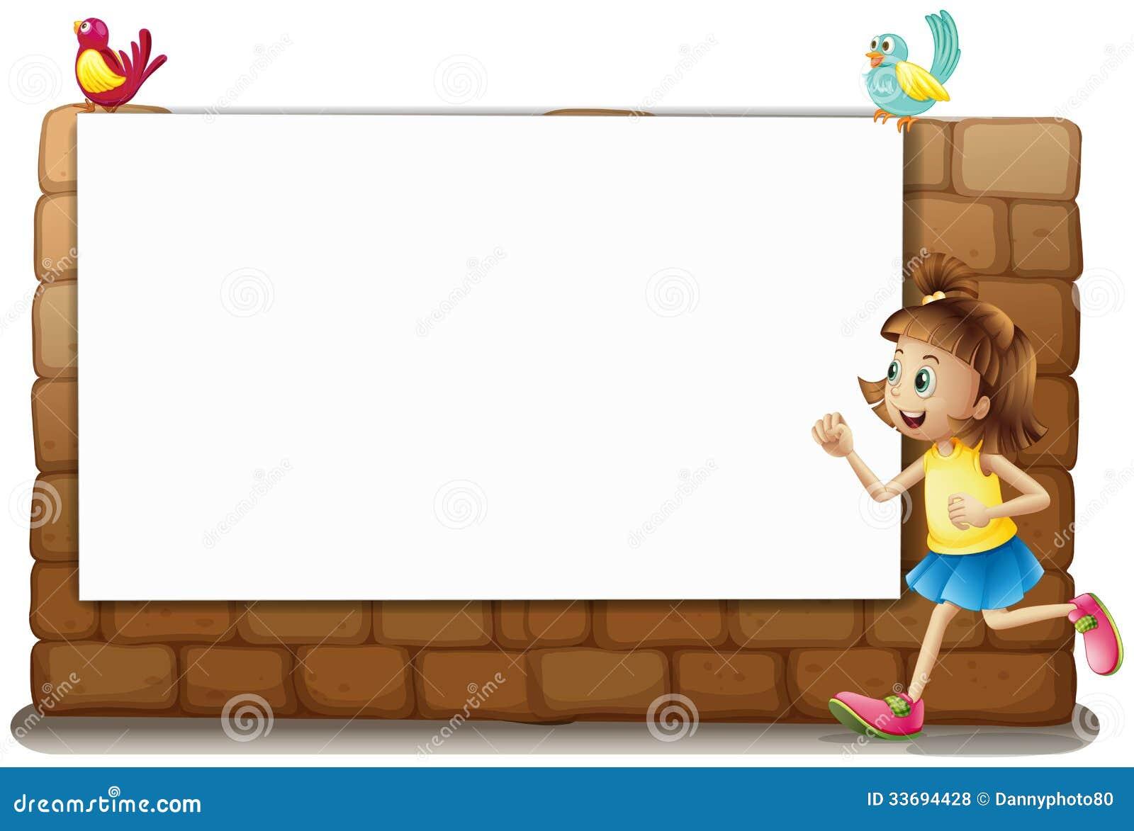 一个白板,女孩和鸟图片