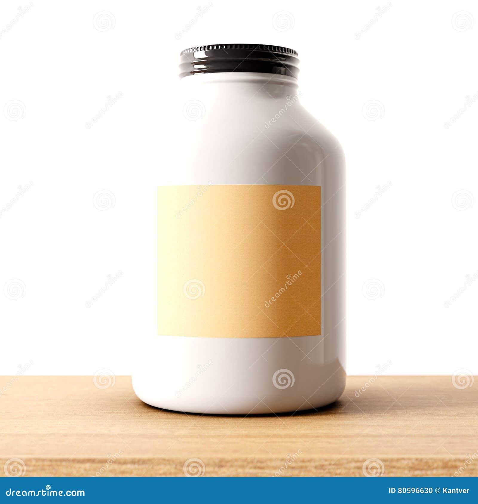 一个空白的不透明白色玻璃瓶子特写镜头在木书桌和清楚的墙壁背景上的 空的玻璃状容器