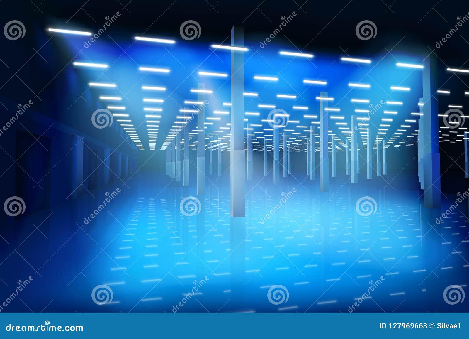 一个空的工厂大厅 也corel凹道例证向量