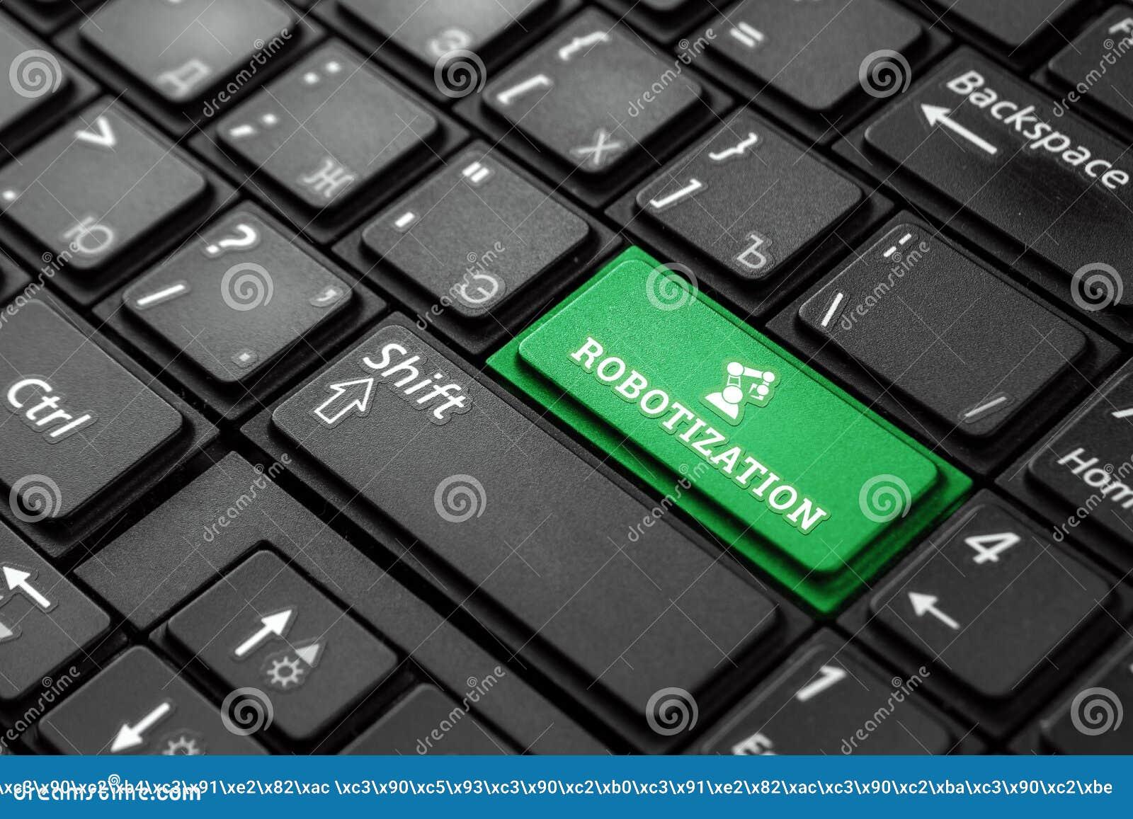 一个绿色按钮的特写镜头有词自动化的,在一个黑键盘 r 概念魔术