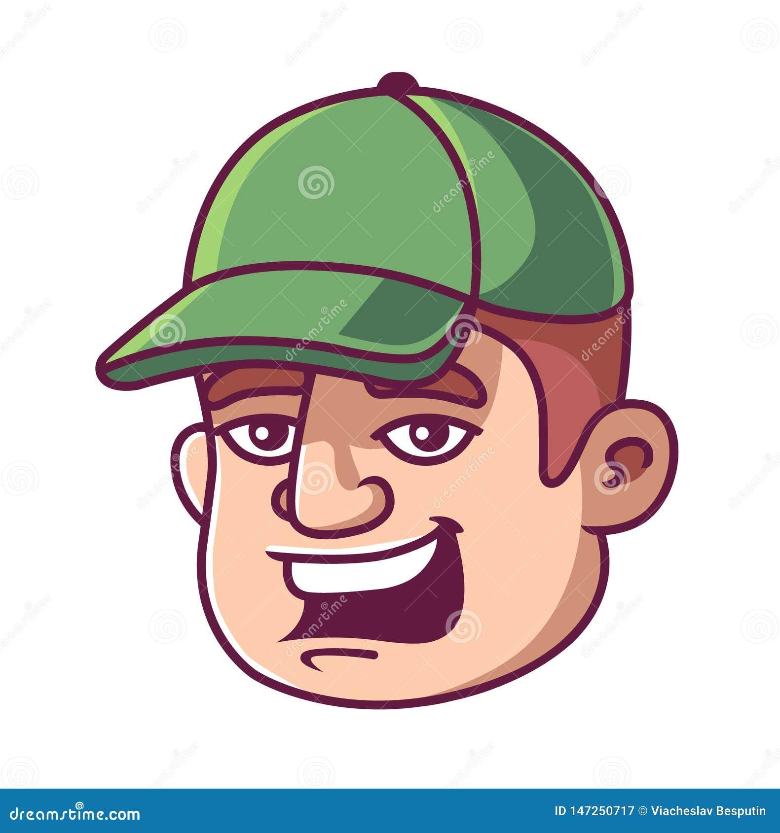 一个绿色盖帽的人