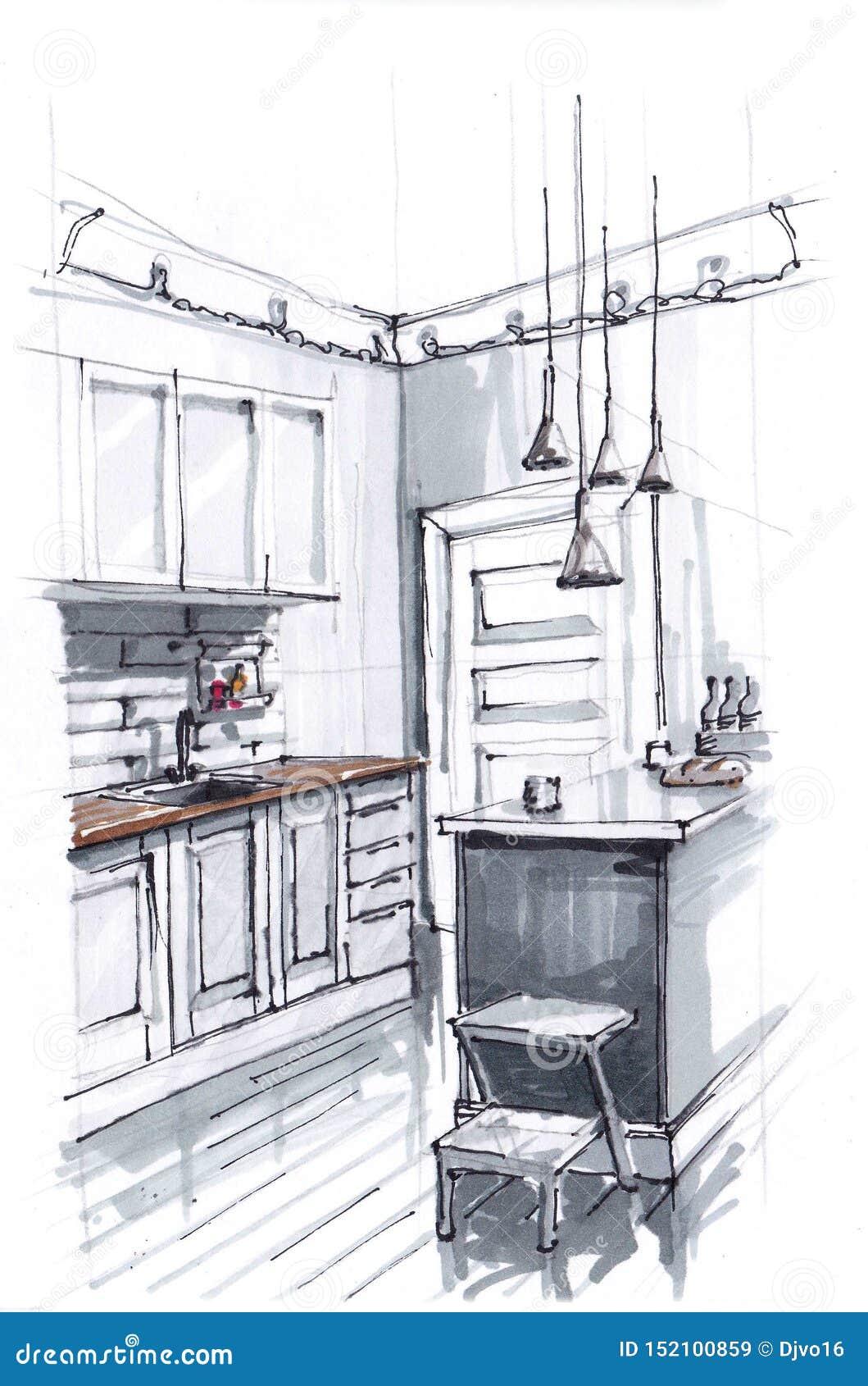 一个舒适厨房的内部的剪影温暖的明亮的颜色的 烹调区域和饭桌 顶楼式 ??