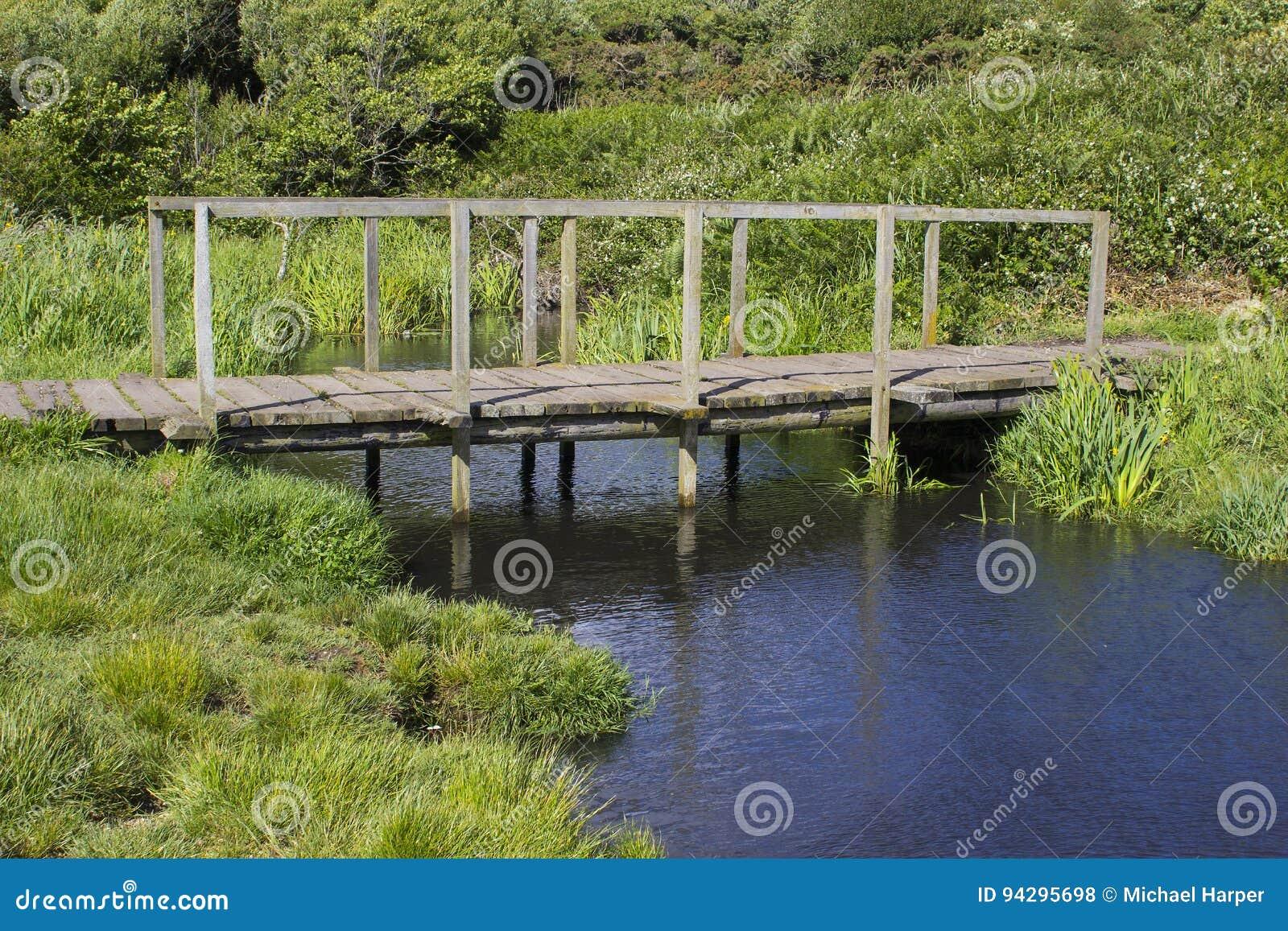 一个遥远的木人行桥在Titchfield共同性英国附近的勾子车道骑马专用路结束时