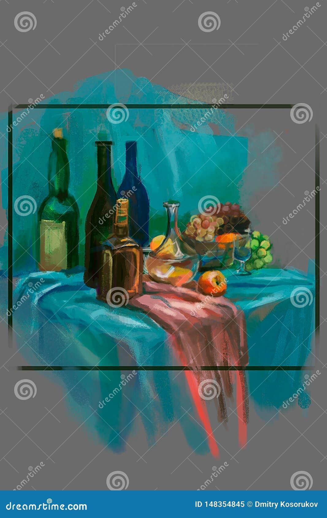 一个酒瓶的例证在桌上的