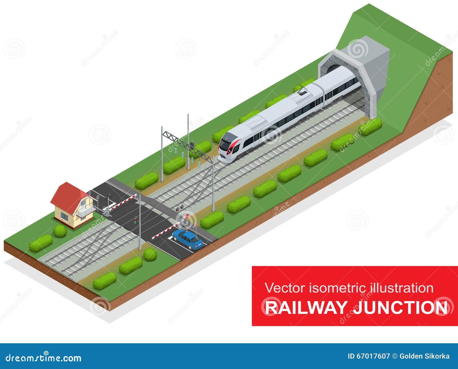 一个铁路联轨点的传染媒介等量例证 铁路联轨点包括现代高速火车,铁路隧道