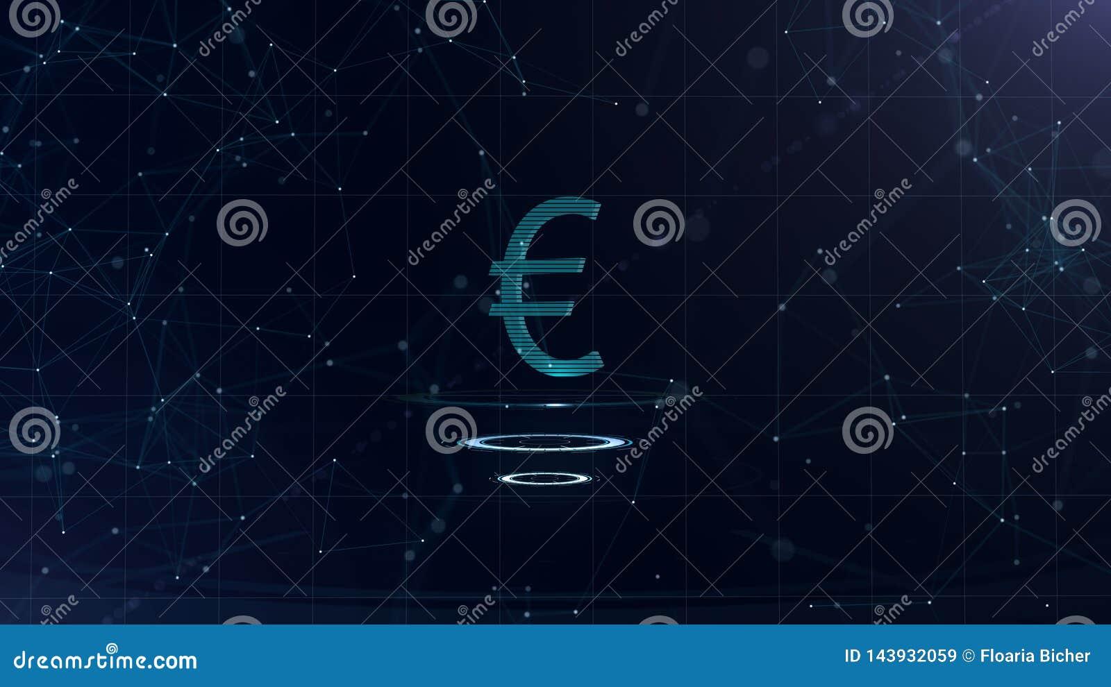 一个雄伟3d欧元标志 与互联网连接的空间蓝色网际空间背景 欧元货币在三真正