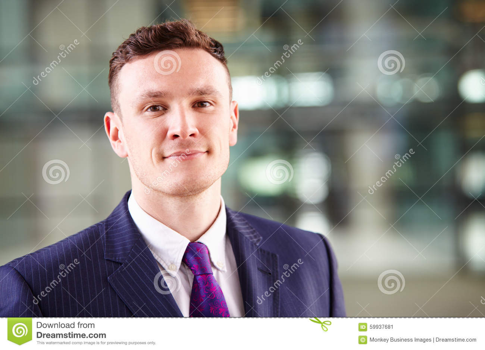 一个年轻白种人商人的首肩画象
