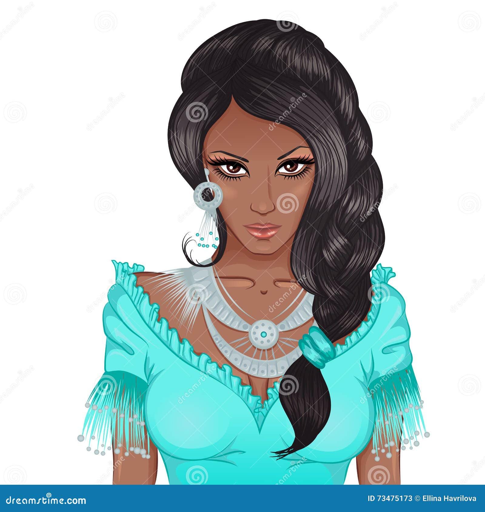 一个年轻非裔美国人的女孩的画象有褶的