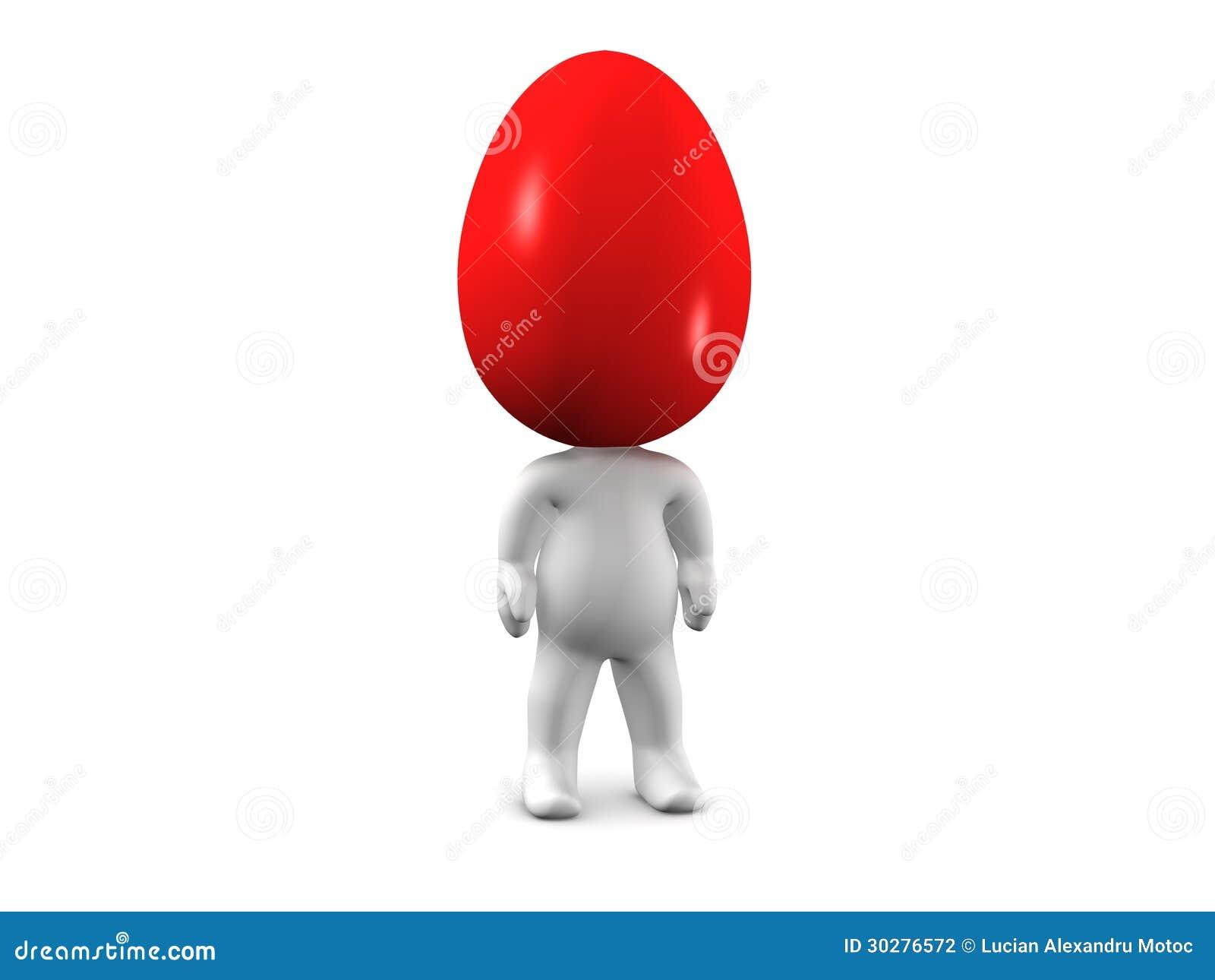 3D有色的复活节彩蛋头的人