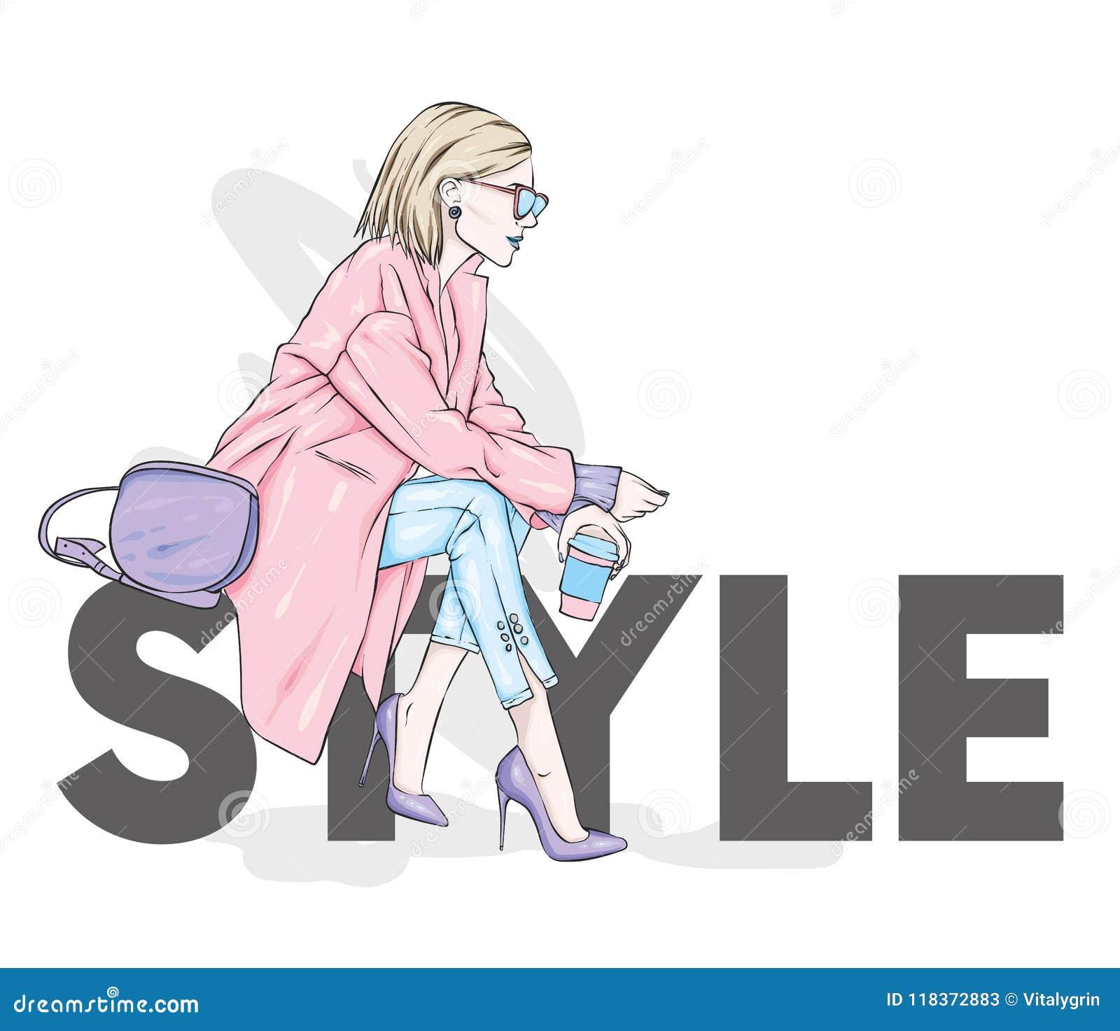 一件时髦的外套的美丽,高和苗条女孩,长裤,玻璃,与玻璃 高跟鞋的时髦的妇女