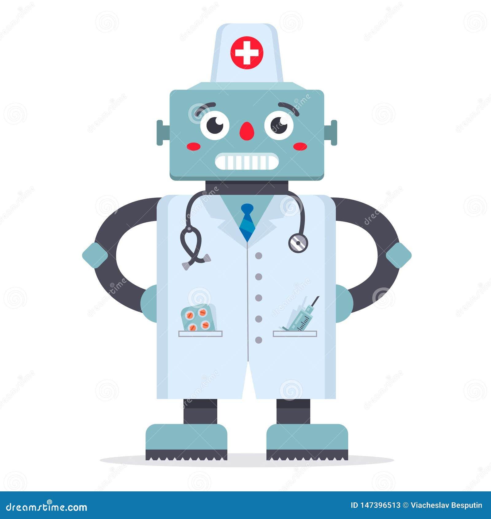 一件白色外套的逗人喜爱的机器人医生
