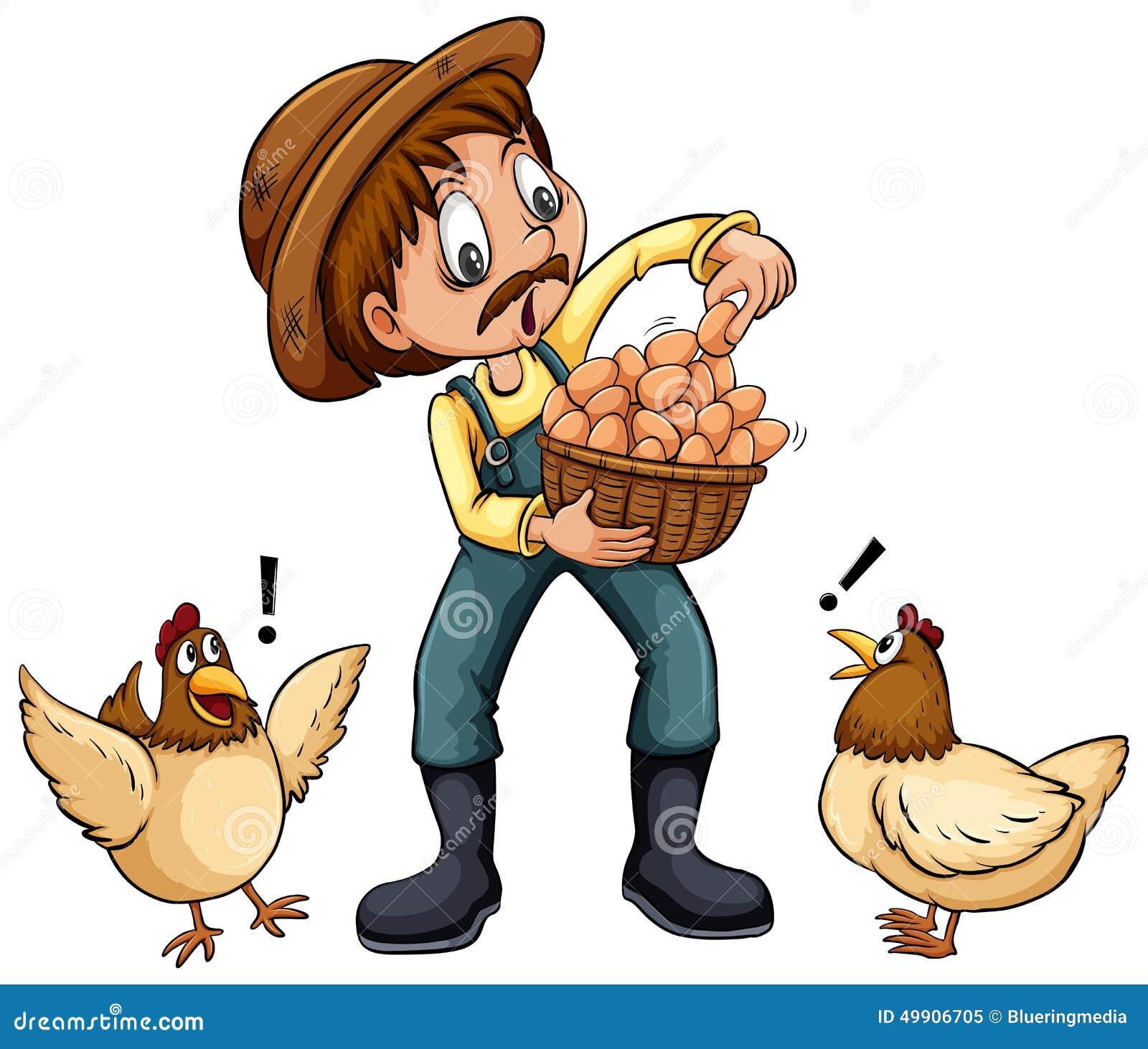 白色农夫网站_拿着鸡蛋的篮子在白色背景的农夫.